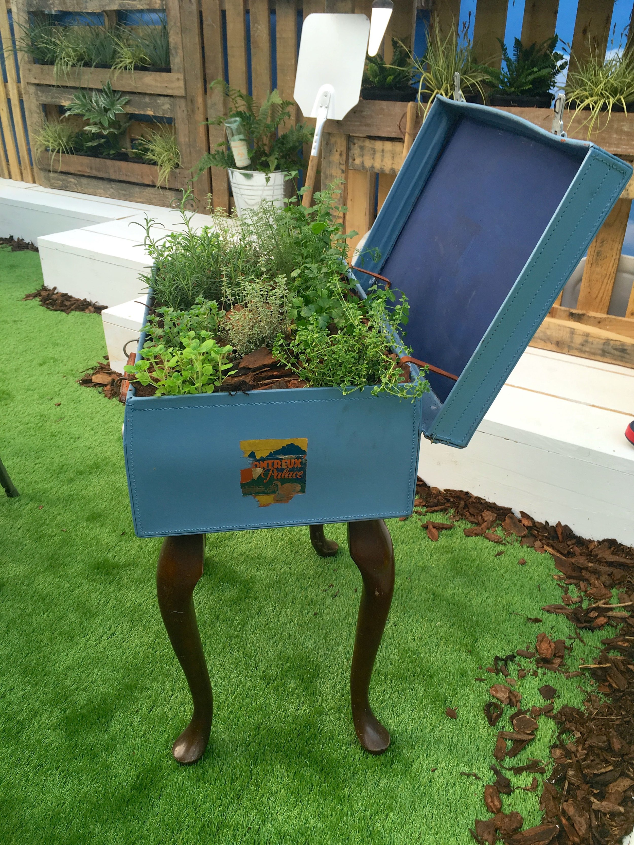 A suitcase planter on legs at the Ideal Home Show