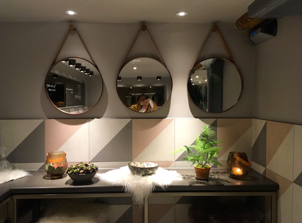 simple shapes, pretty tiles and mirrors in threes