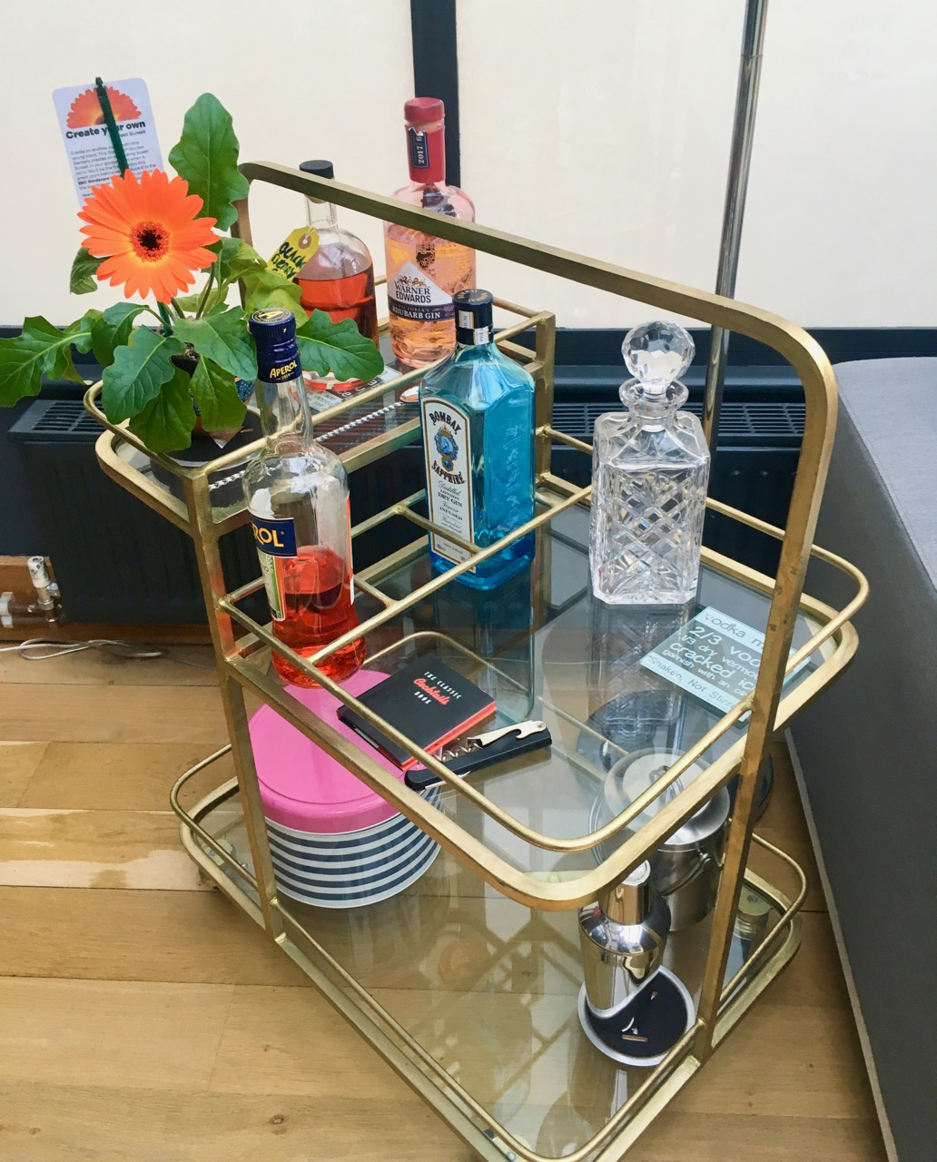 an eclectic and colourful collection on our drinks trolley