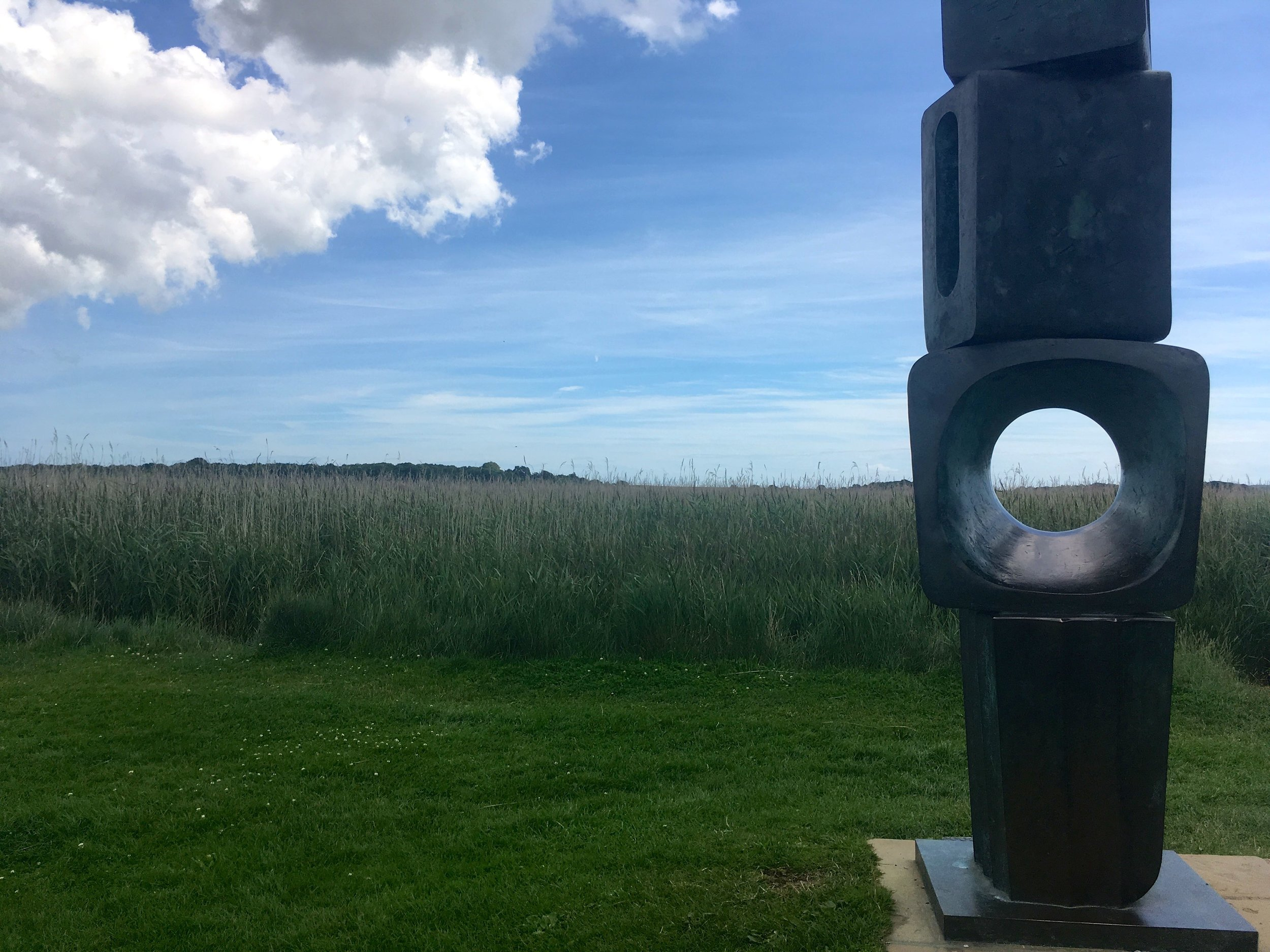 another modern sculpture with a great view