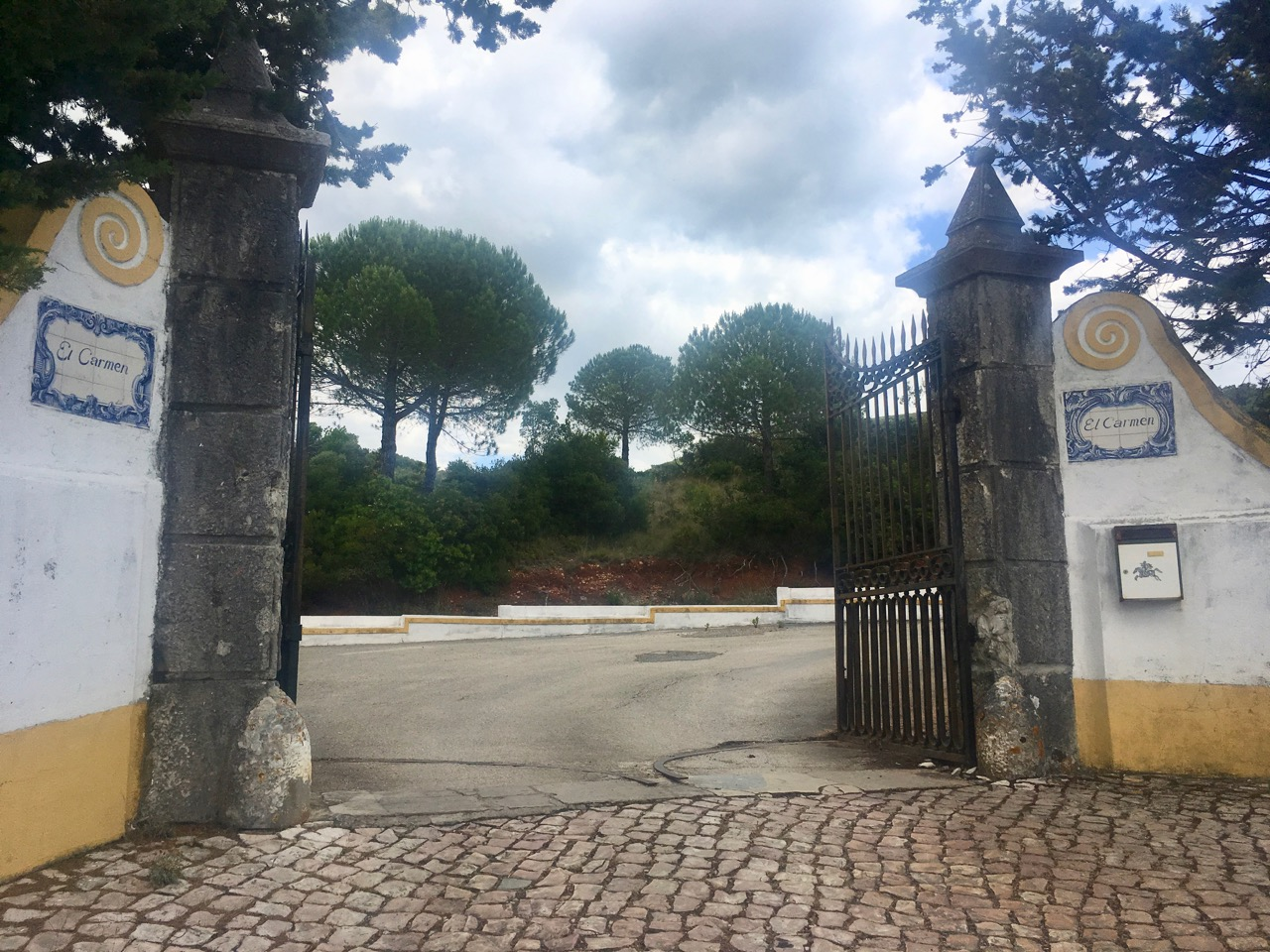 The convent gates, but still more uphill walking