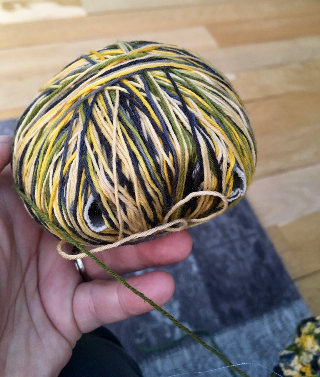 the much smaller ball of wool that's left
