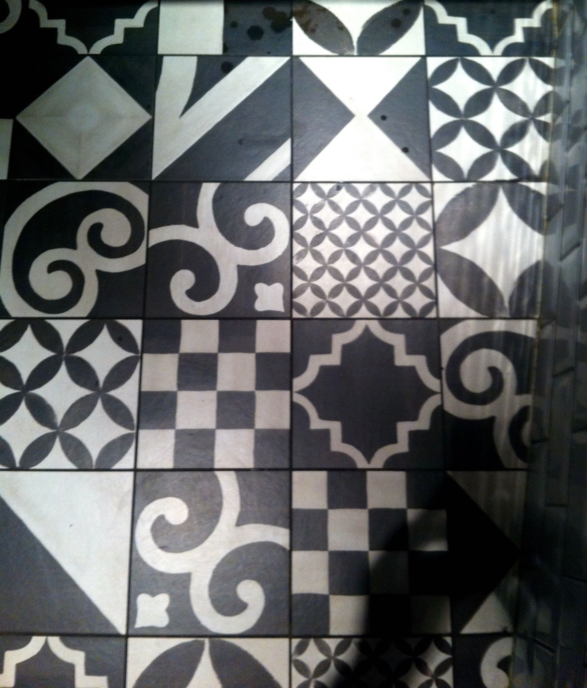 geometric tiles on the floor