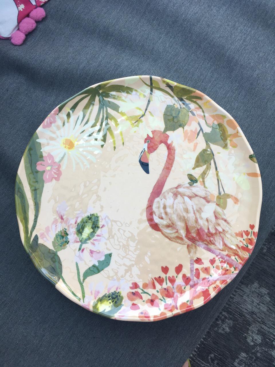 flamingo picnic plate