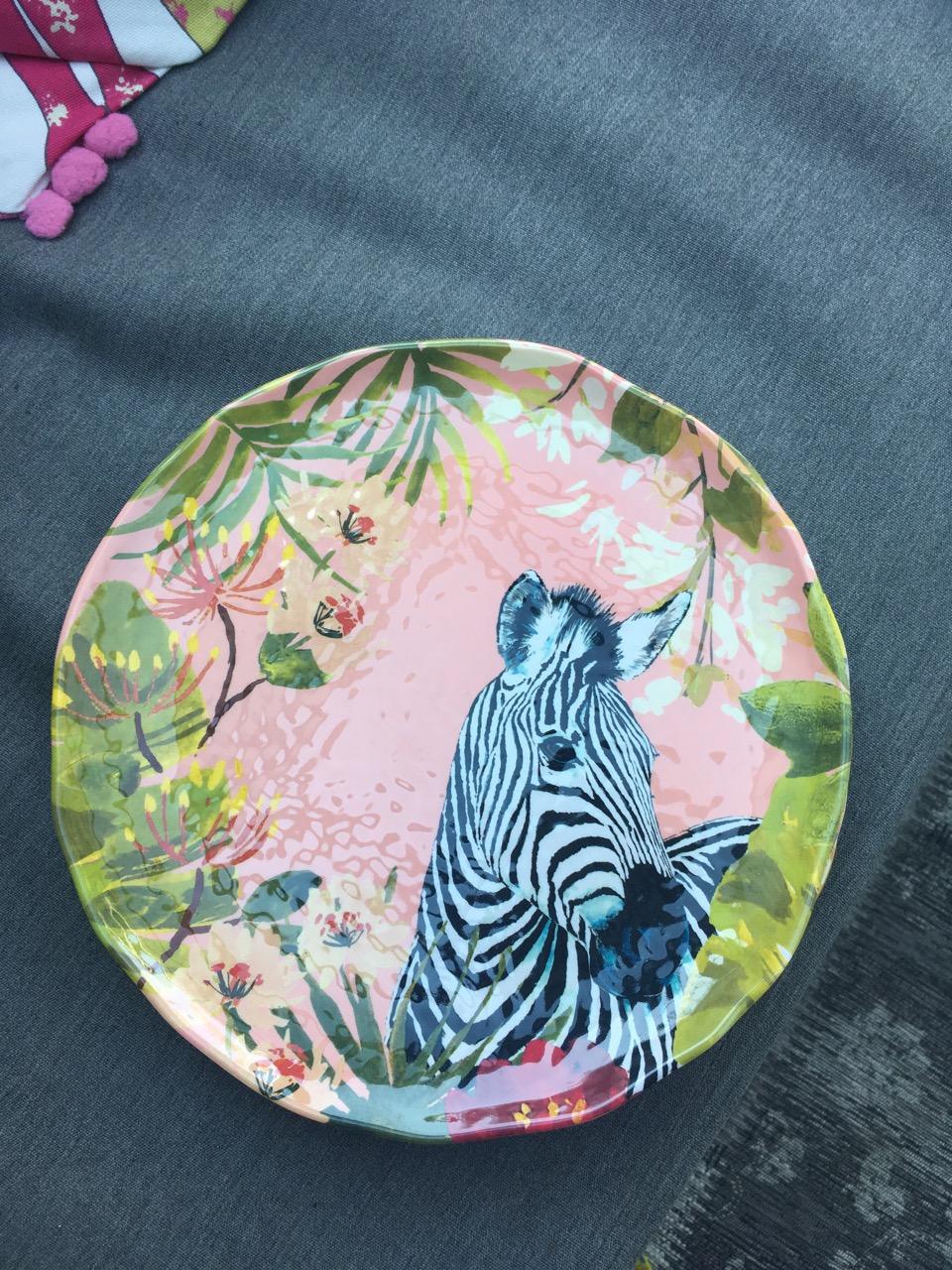 a zebra melamine picnic plate from m&s
