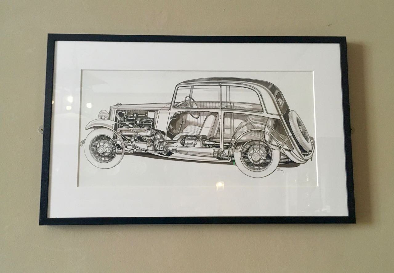 a cross section drawing of a vintage car
