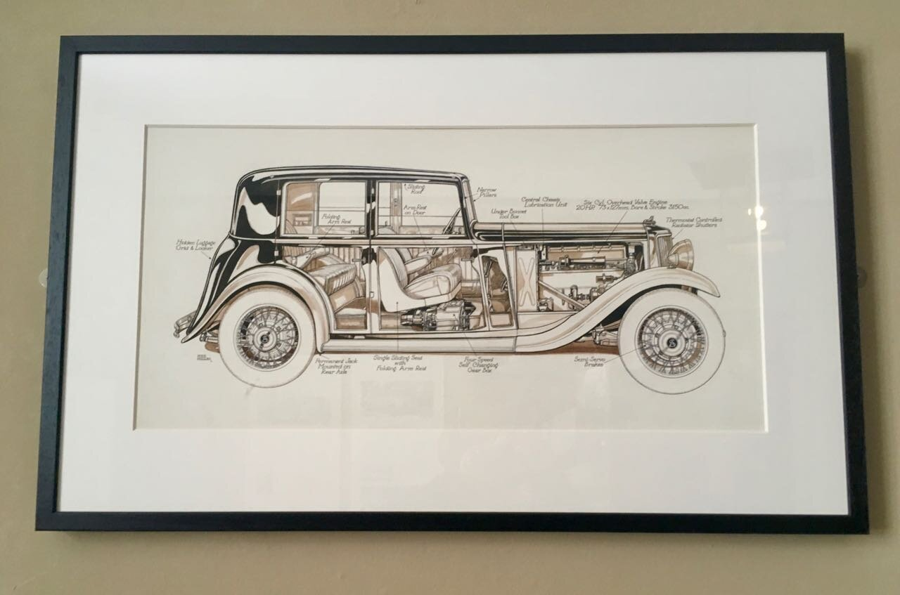 a vintage car drawing