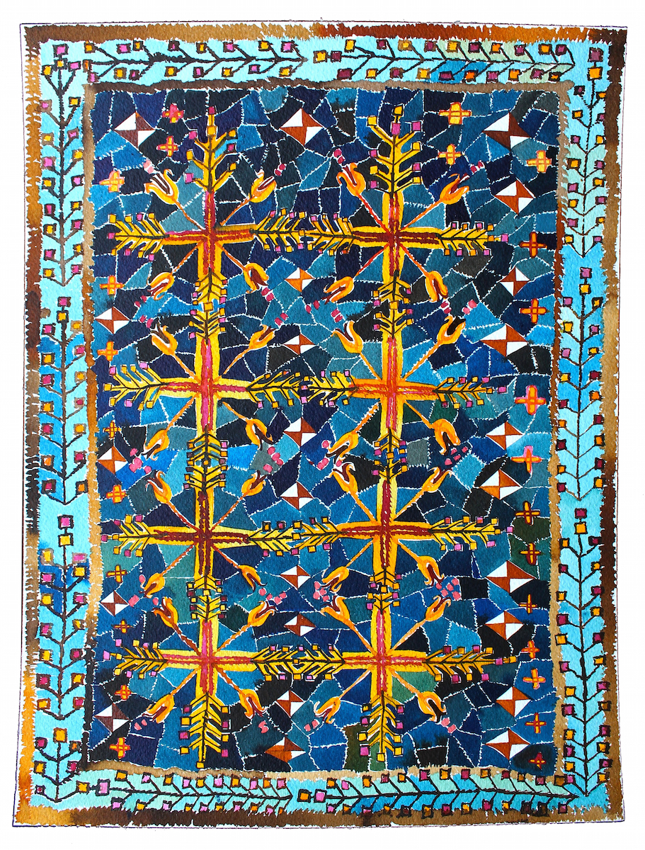 Blue Turkish Carpet with Hyacinth Motif  16x12 inches, acrylic ink on paper