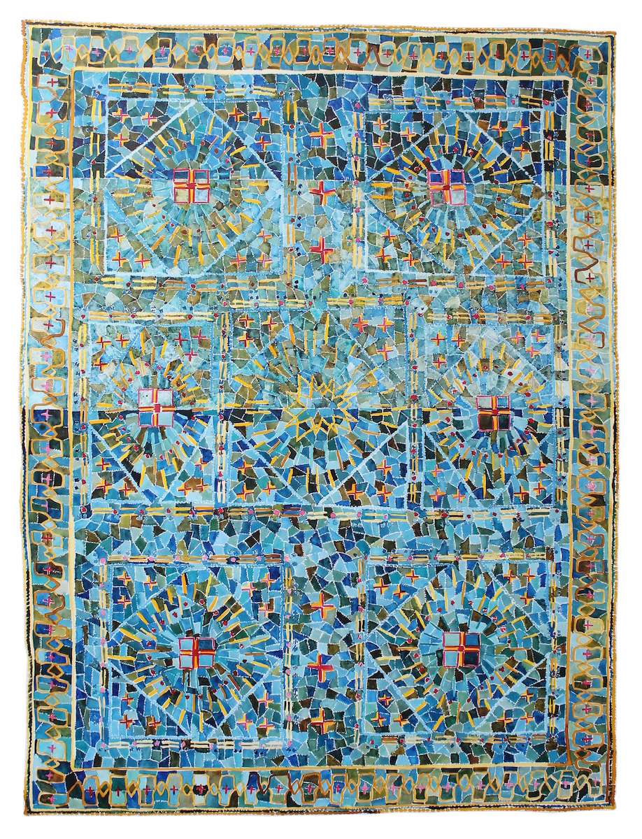 Green Seljuk Carpet with Color Abraj, Central Turkey  42x30 inches, acrylic ink on paper