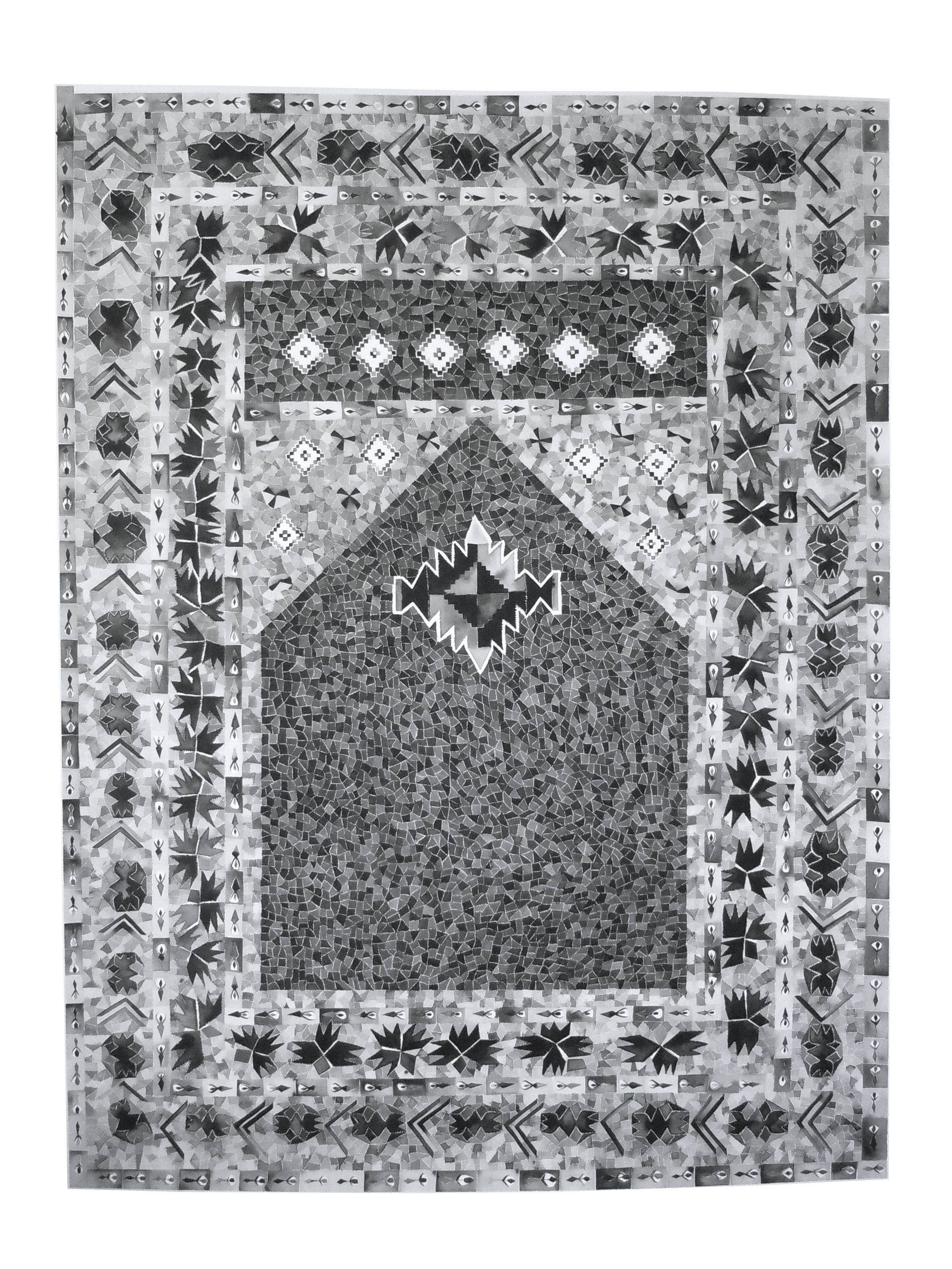 Grey Prayer Rug, Iraq  61x47 inches, sumi ink on paper