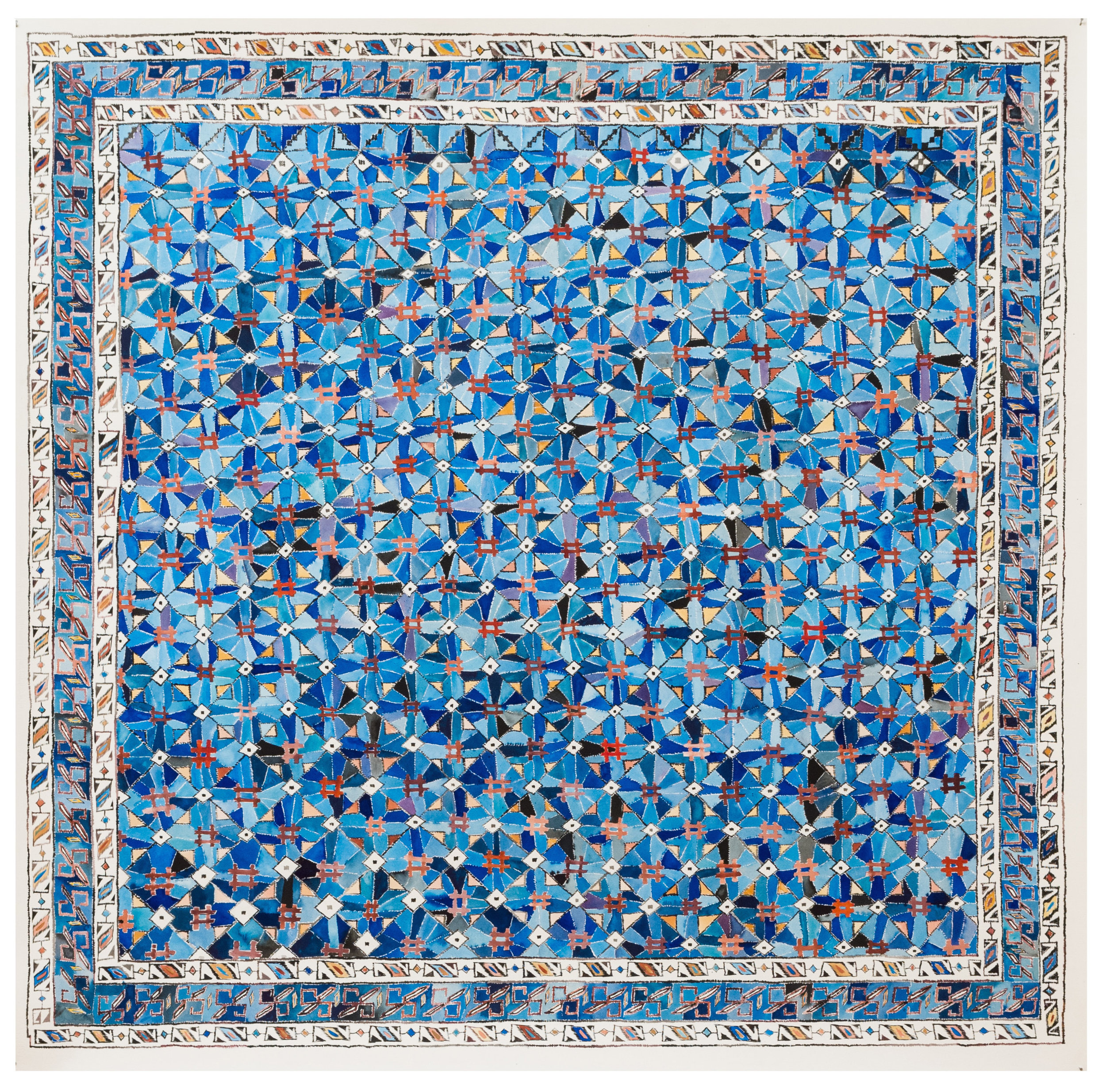 Blue Seljuk Carpet, Central Anatolia  58x58 inches, acrylic ink on paper
