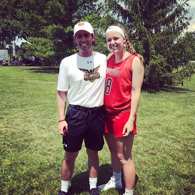 Head Coach Nick Estey and Senior @megbaxter_ playing and coaching for Team Midwest Highlight @ualacrosse All-American Tournament! #RepThePrep #BeTheBuffalo