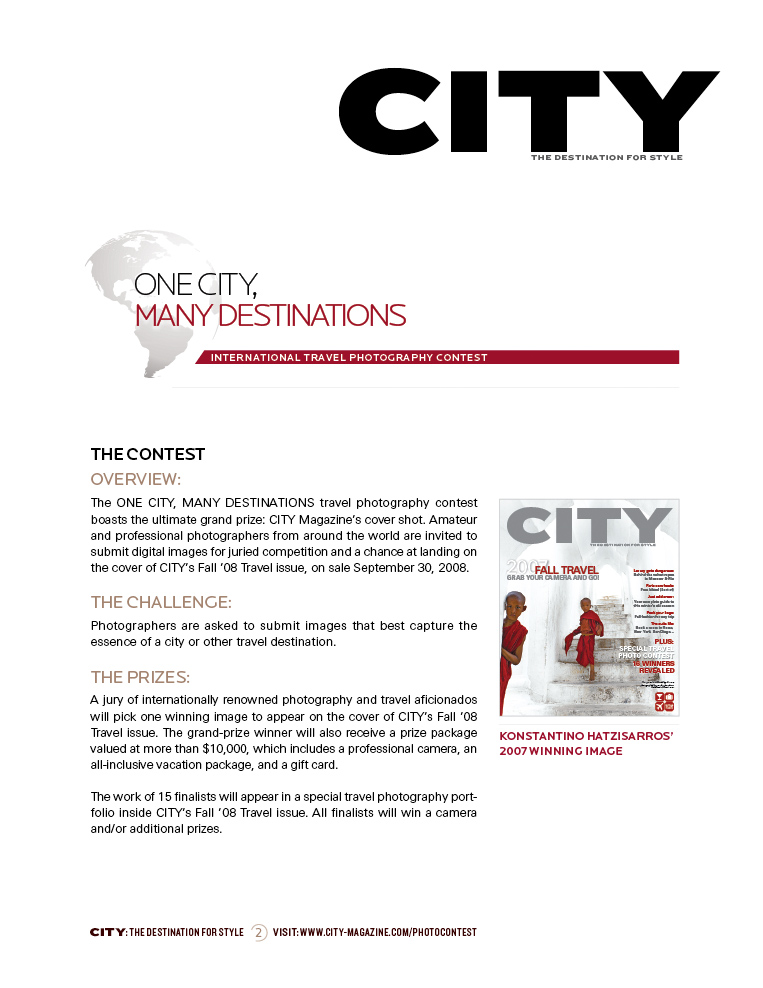 Sample sales proposal page for One City, Many Destinations photo contest. 2007.