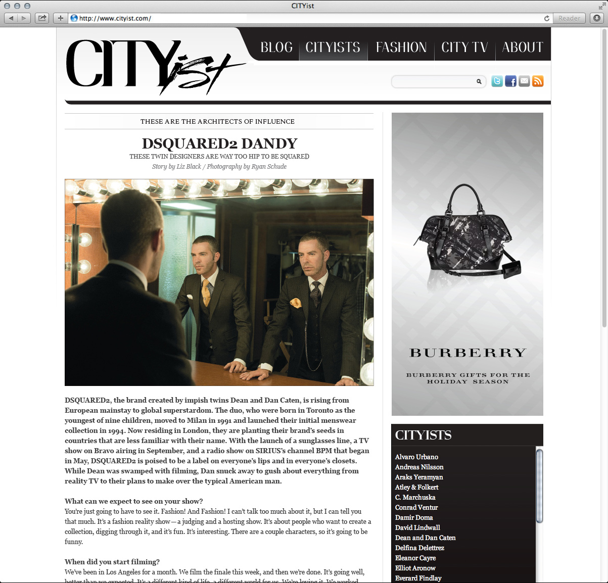 CITYist web site design. 2009.