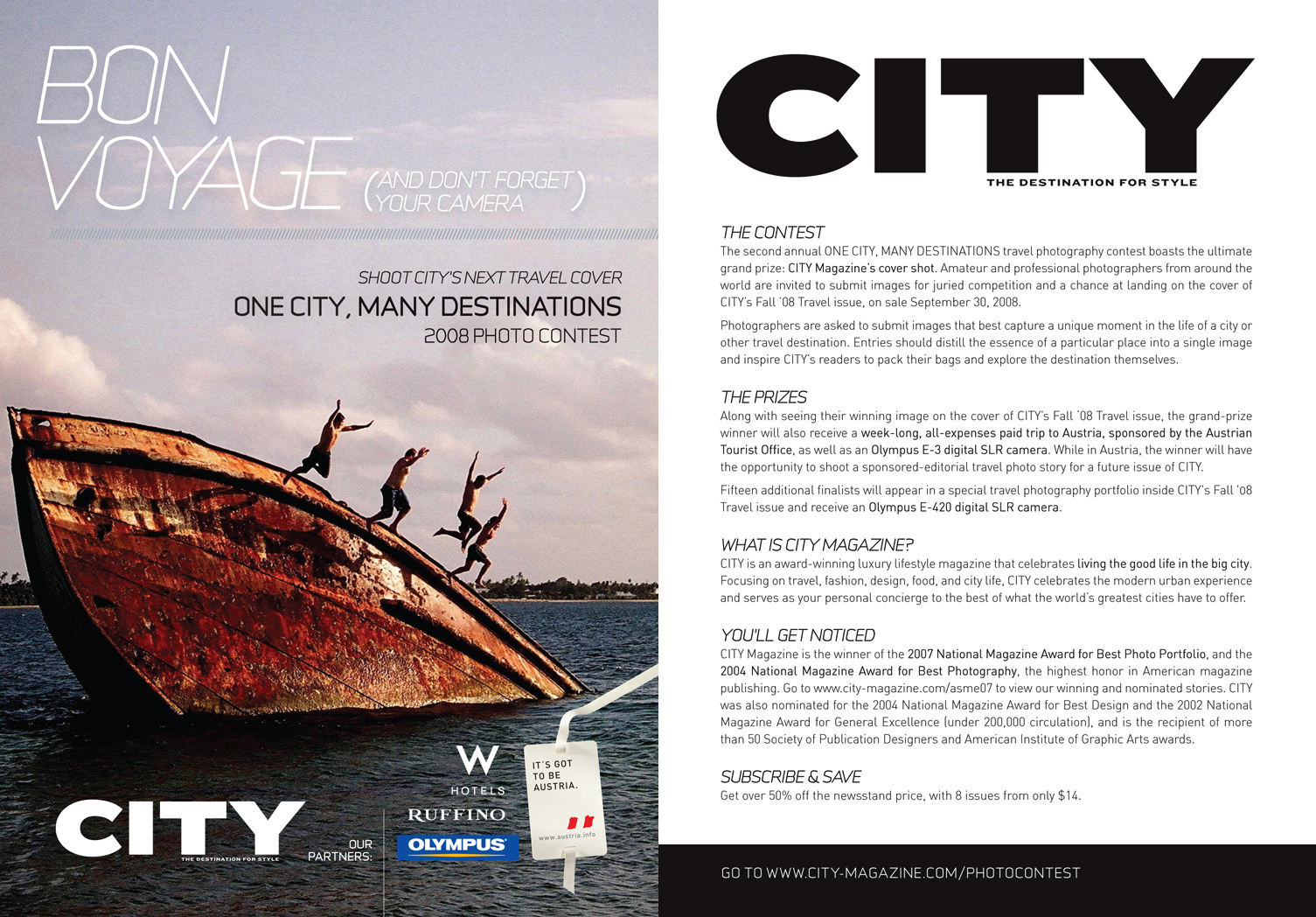 "One City, Many Destinations photo contest 5 x 7"" promotional postcard. 2007."