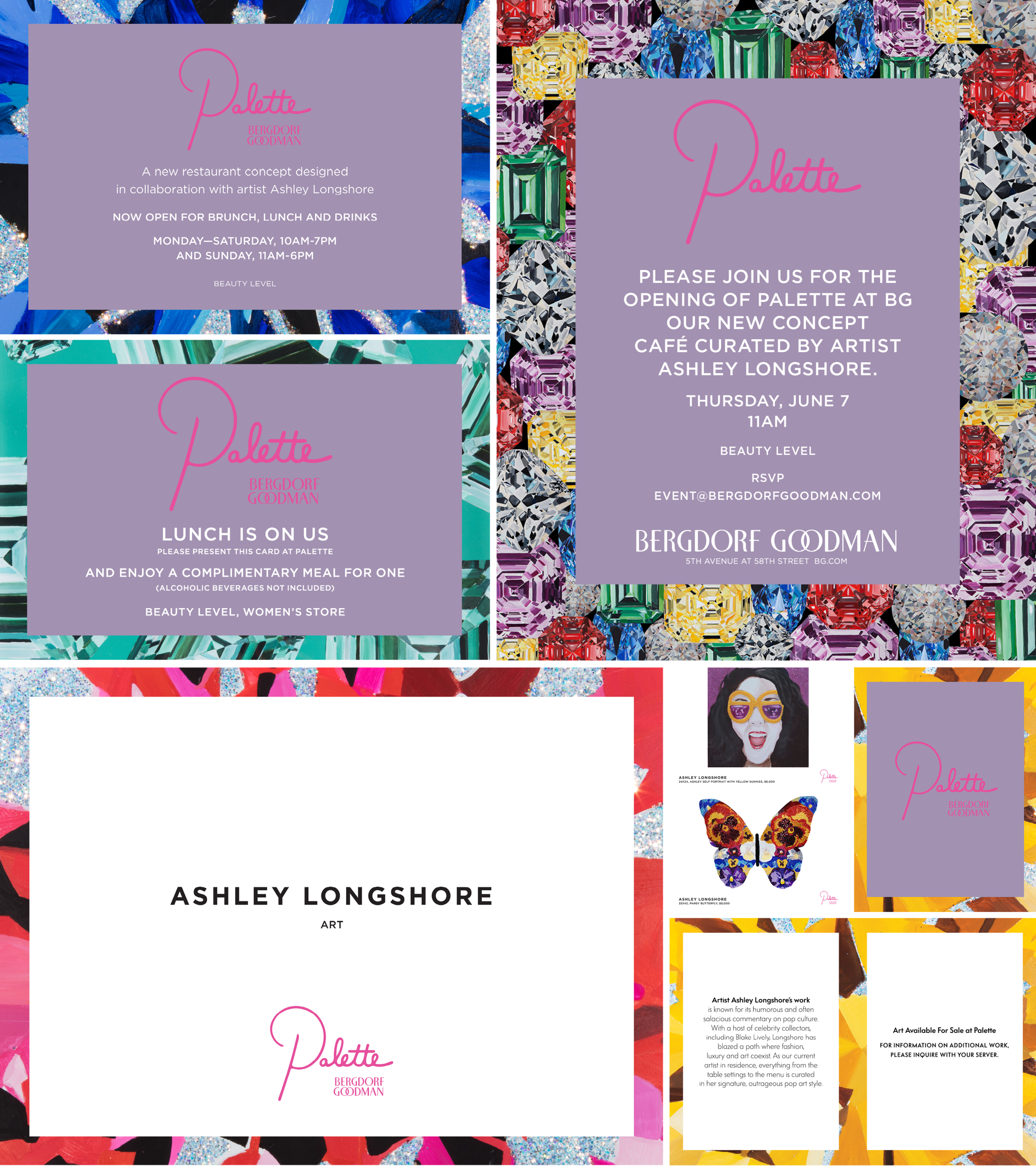 Overview of materials designed for the launch of Bergdorf Goodman's concept pop-up restaurant, Palette. Design. Logo and Art by Ashley Longshore.
