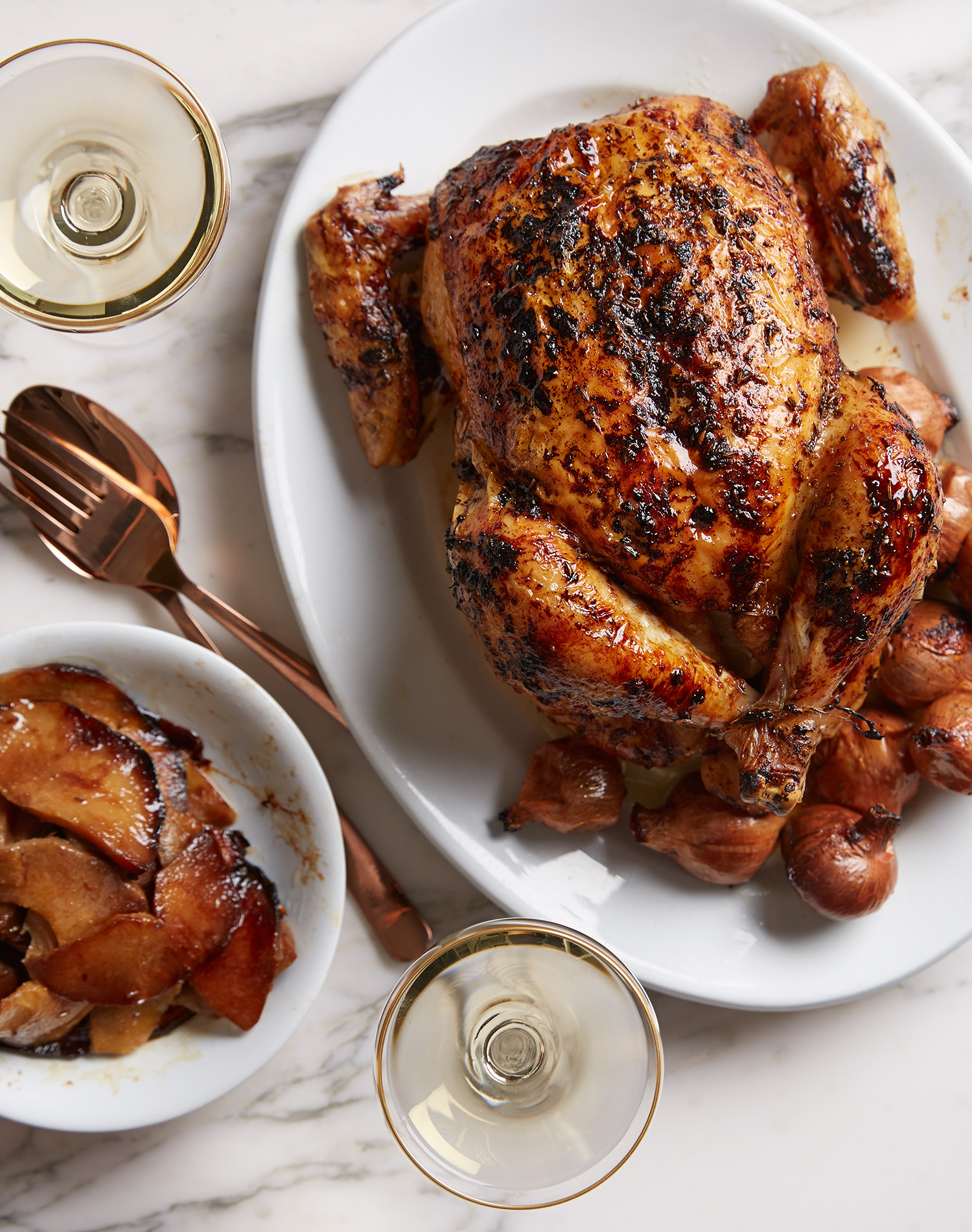 oven roasted chicken with caraway seed and quince