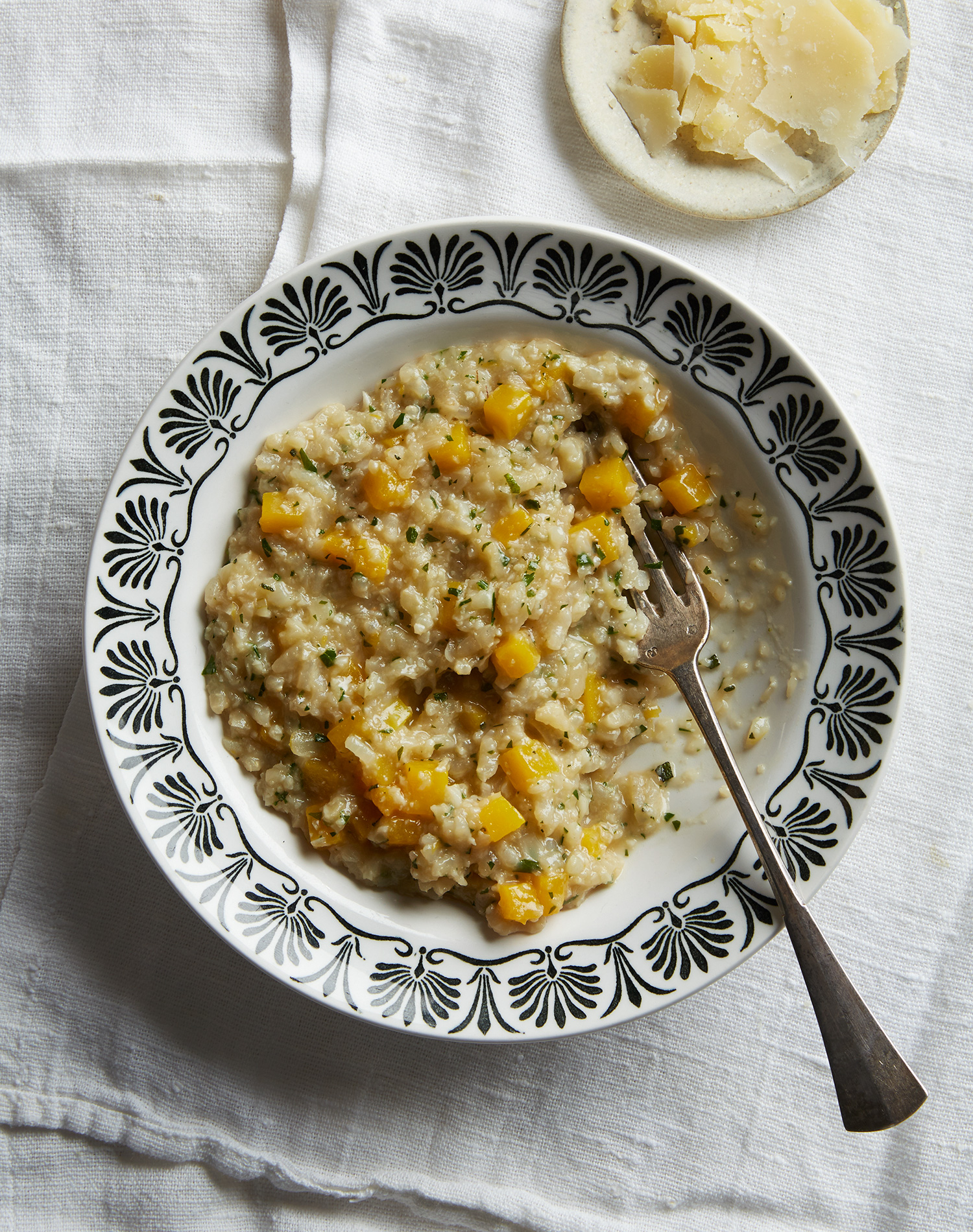 cauliflower risotto with squash and sage