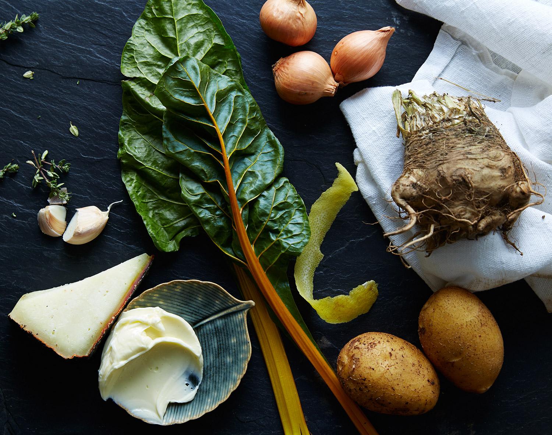 celeriac-chard-potato-gratin