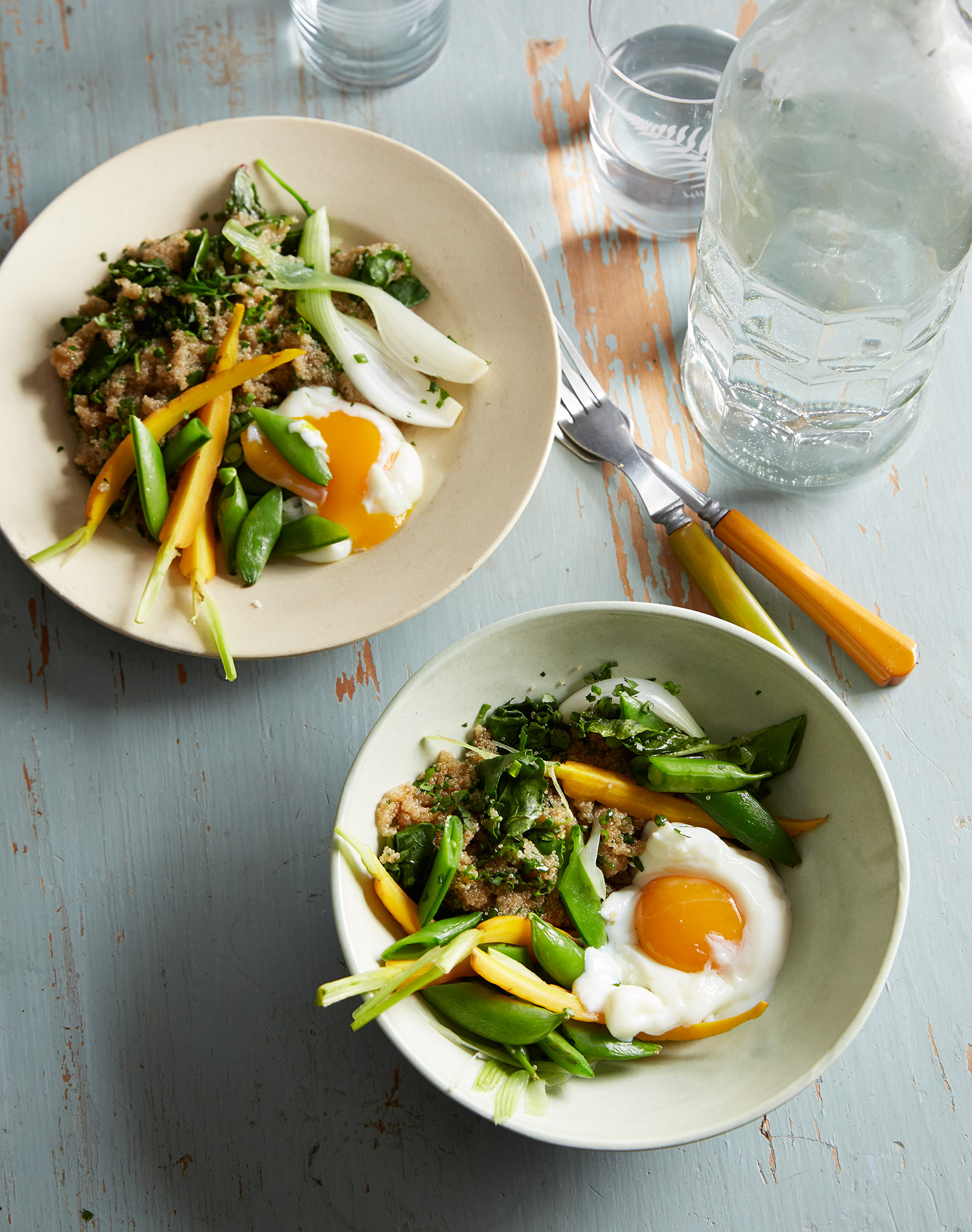 healthy weeknight dinner with spring vegetables grains and onzen tamago