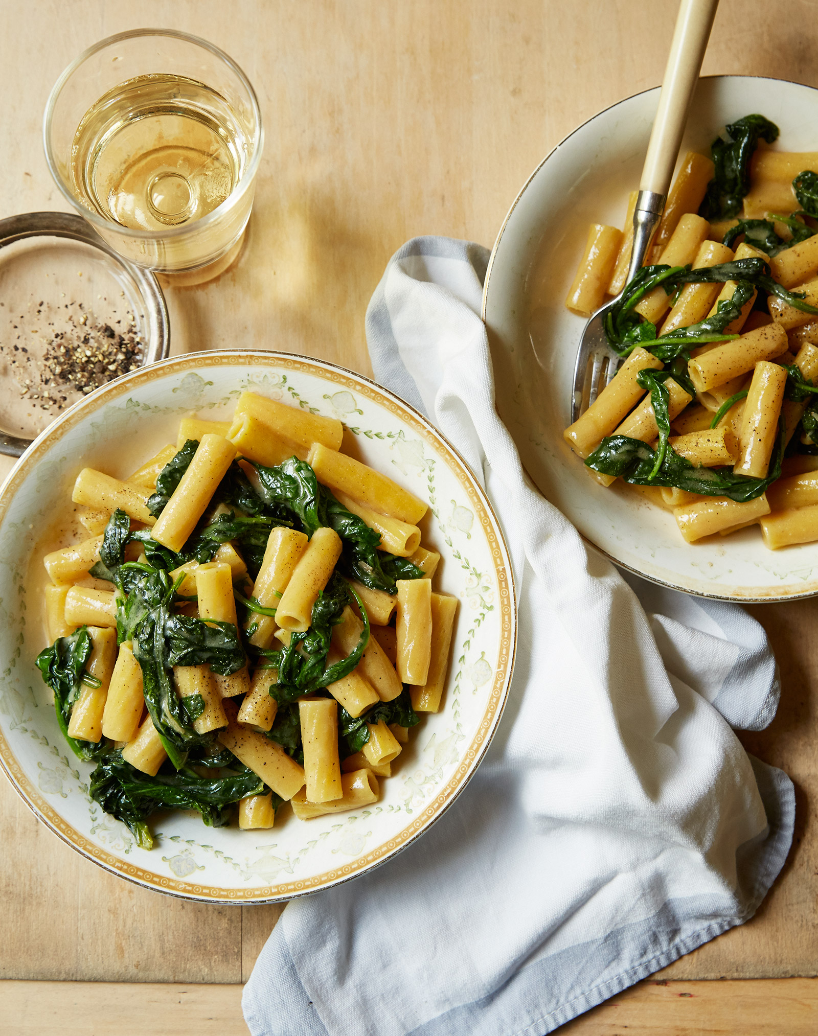 gluten free brown butter miso pasta with arugula and spinach