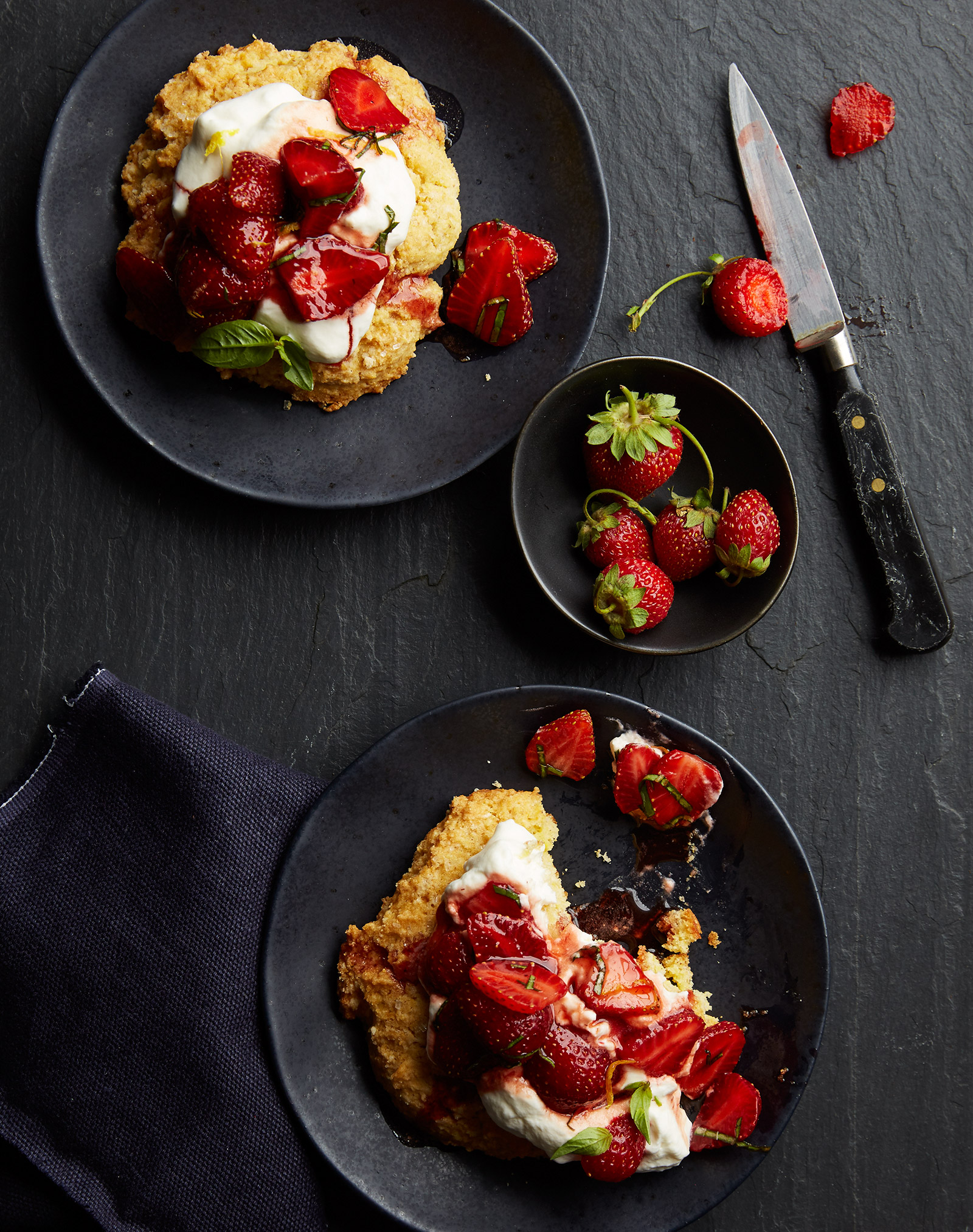 gluten free cornmeal shortcakes with strawberries and mascarpone