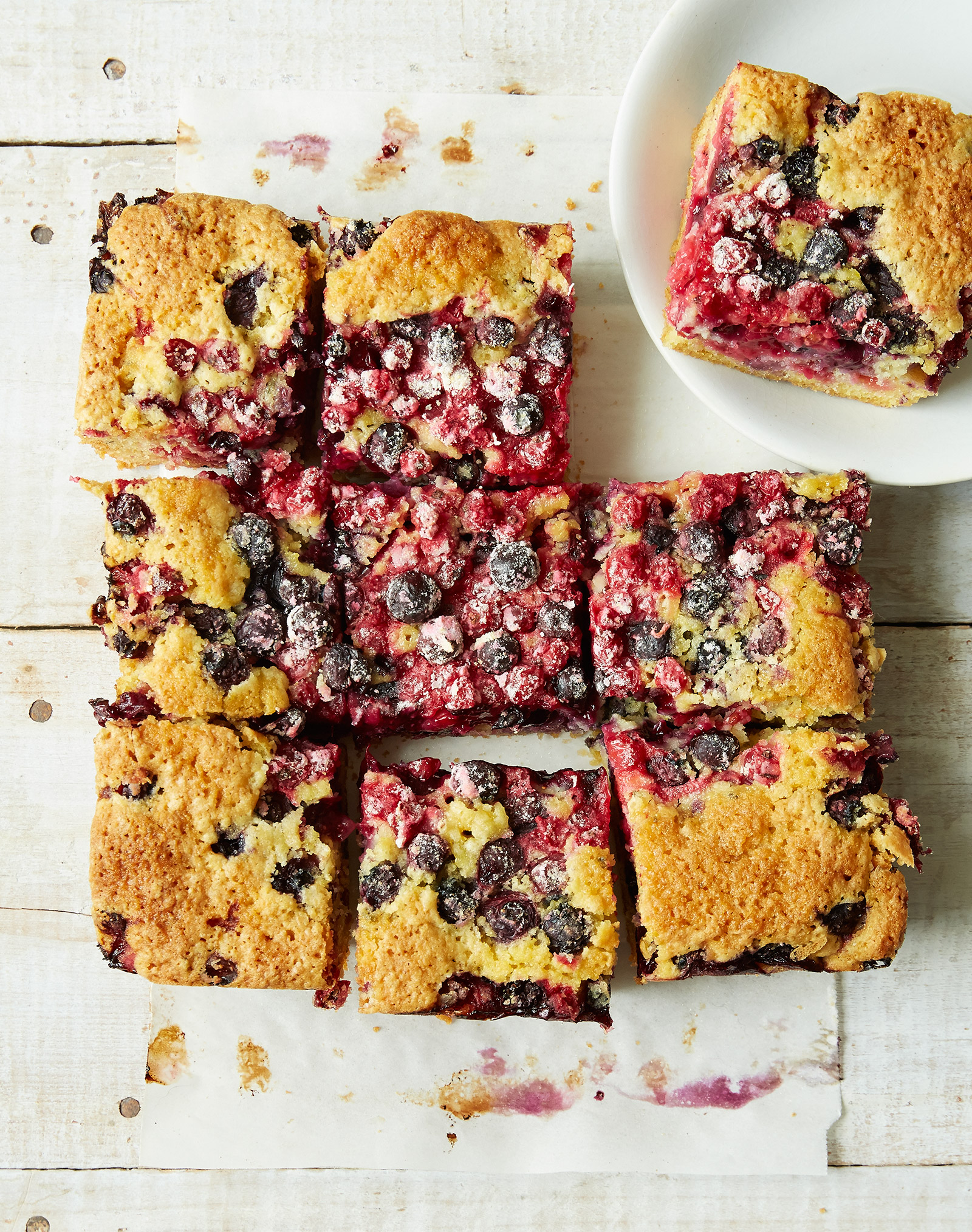 summertime gluten free blueberry currant cake, cut