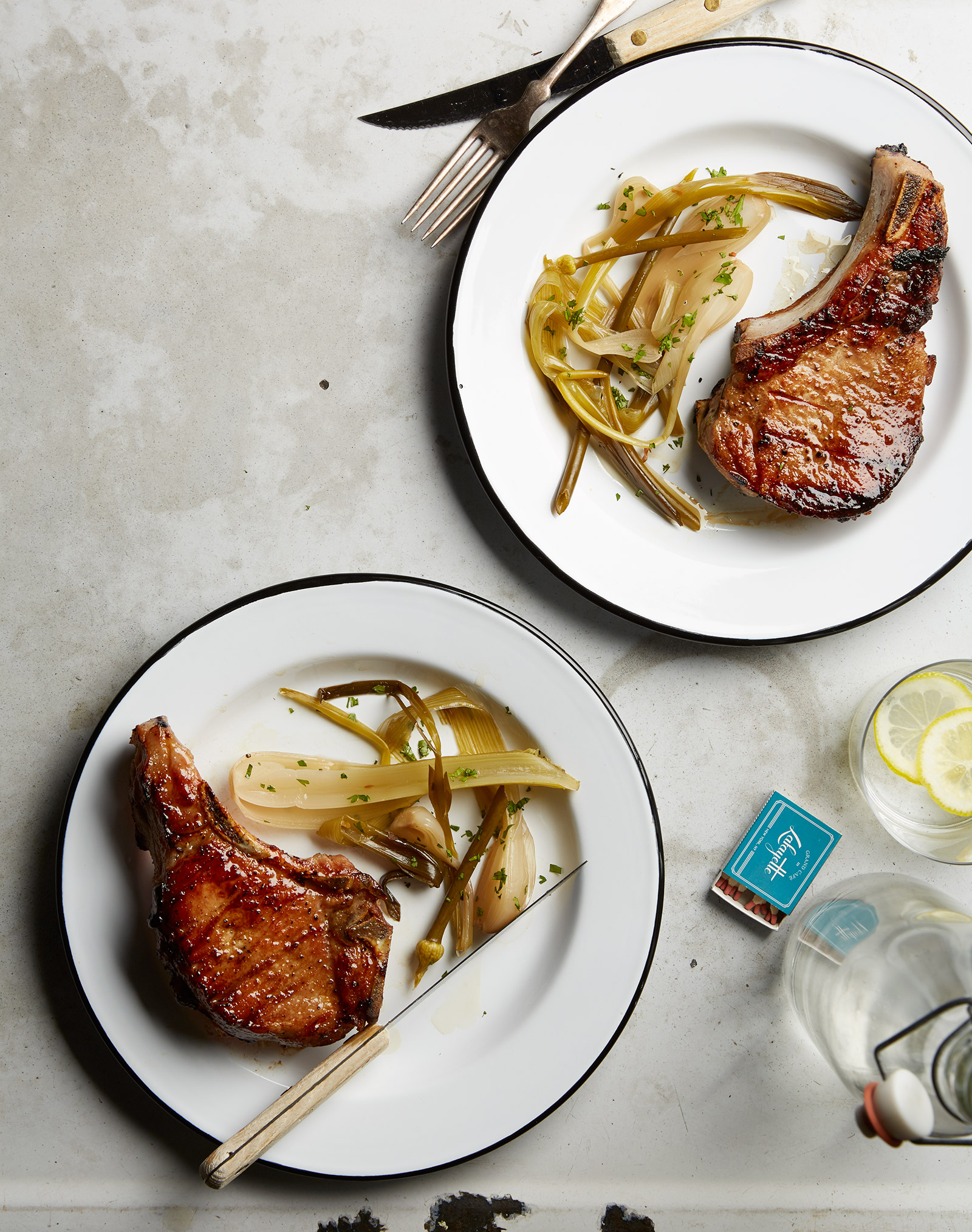 grilled brined pork chops with vinegary onions