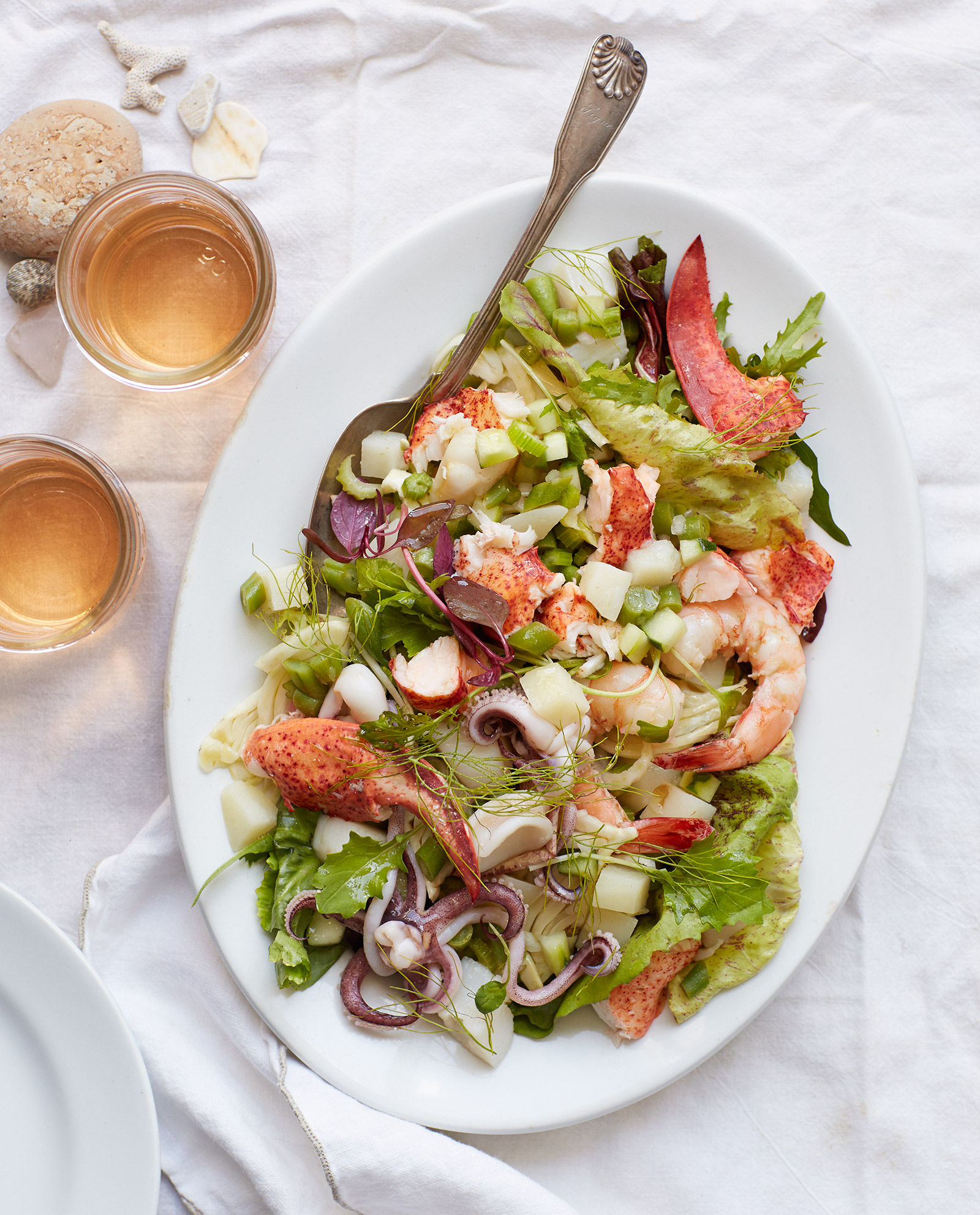 seafood salad with lobster fennel and rosé wine