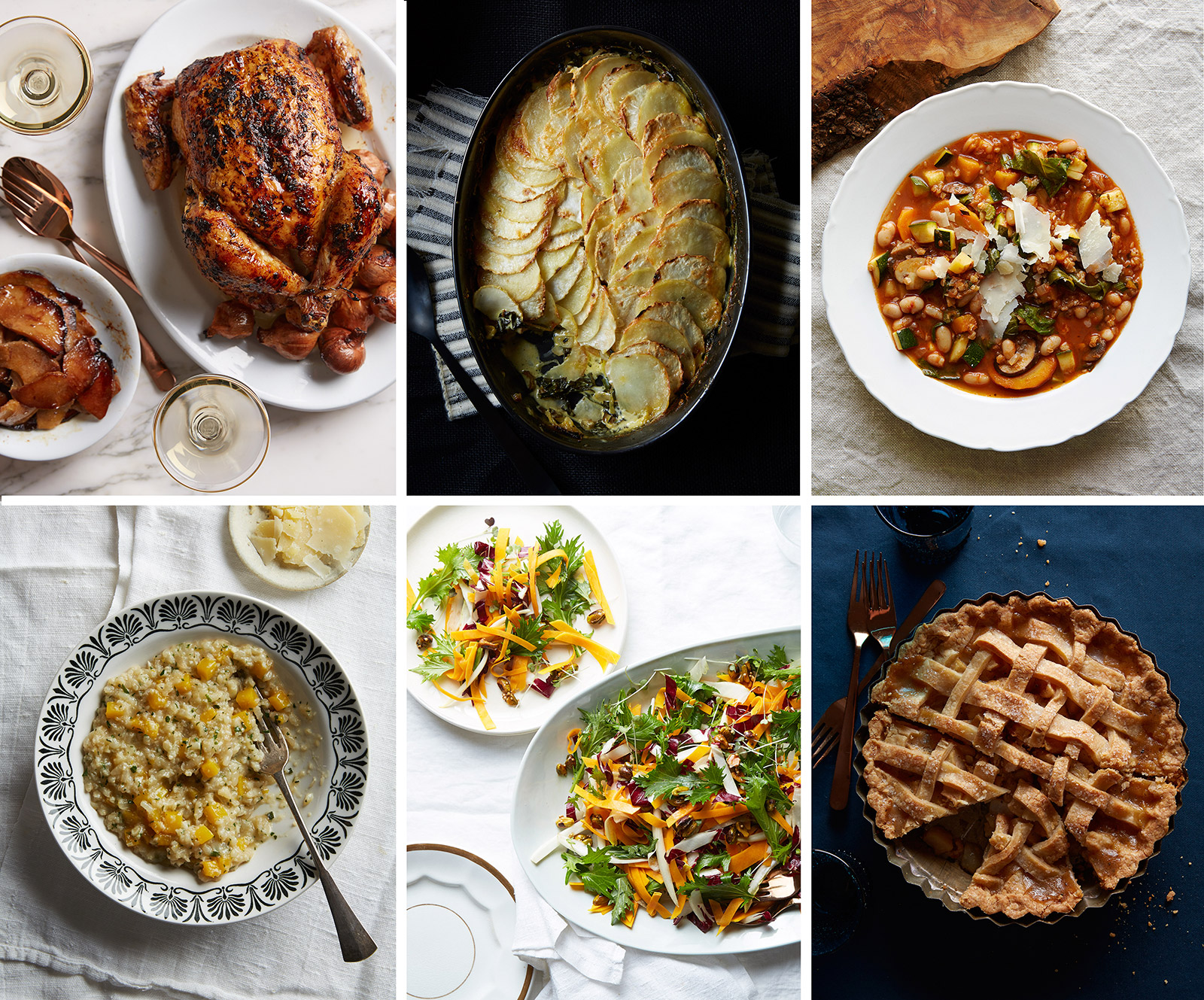 From left to right: Caraway Quince Chicken  ;  Celeriac Potato Gratin;  Fall Minestrone with Buckwheat;  Pumpkin Cauliflower Risotto;  Butternut, Chicory & Mizuna Salad  ;  Pear, Vanilla, Black Pepper & Ginger Lattice Pie
