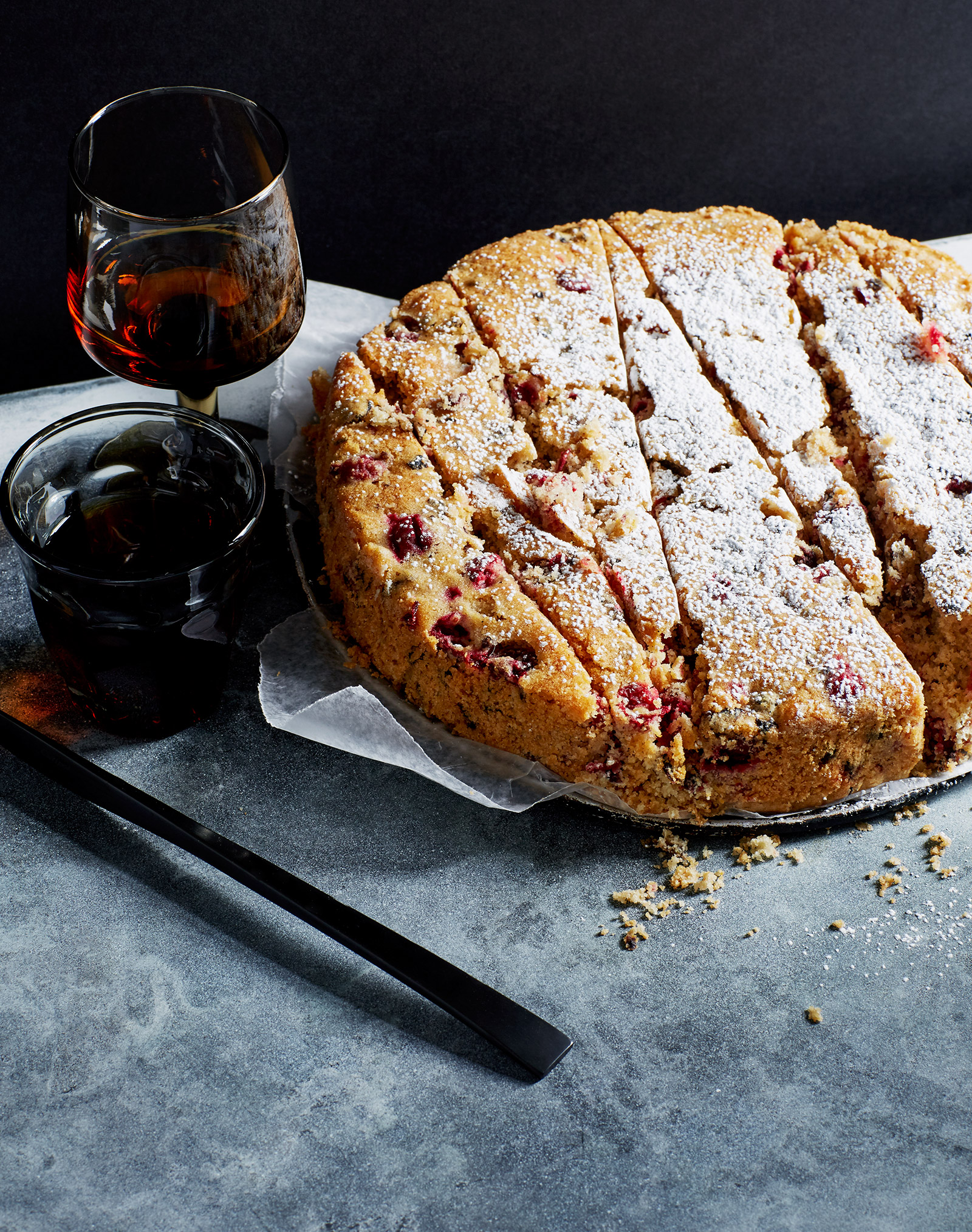 gluten free cranberry cornmeal cake with digestivi liquor