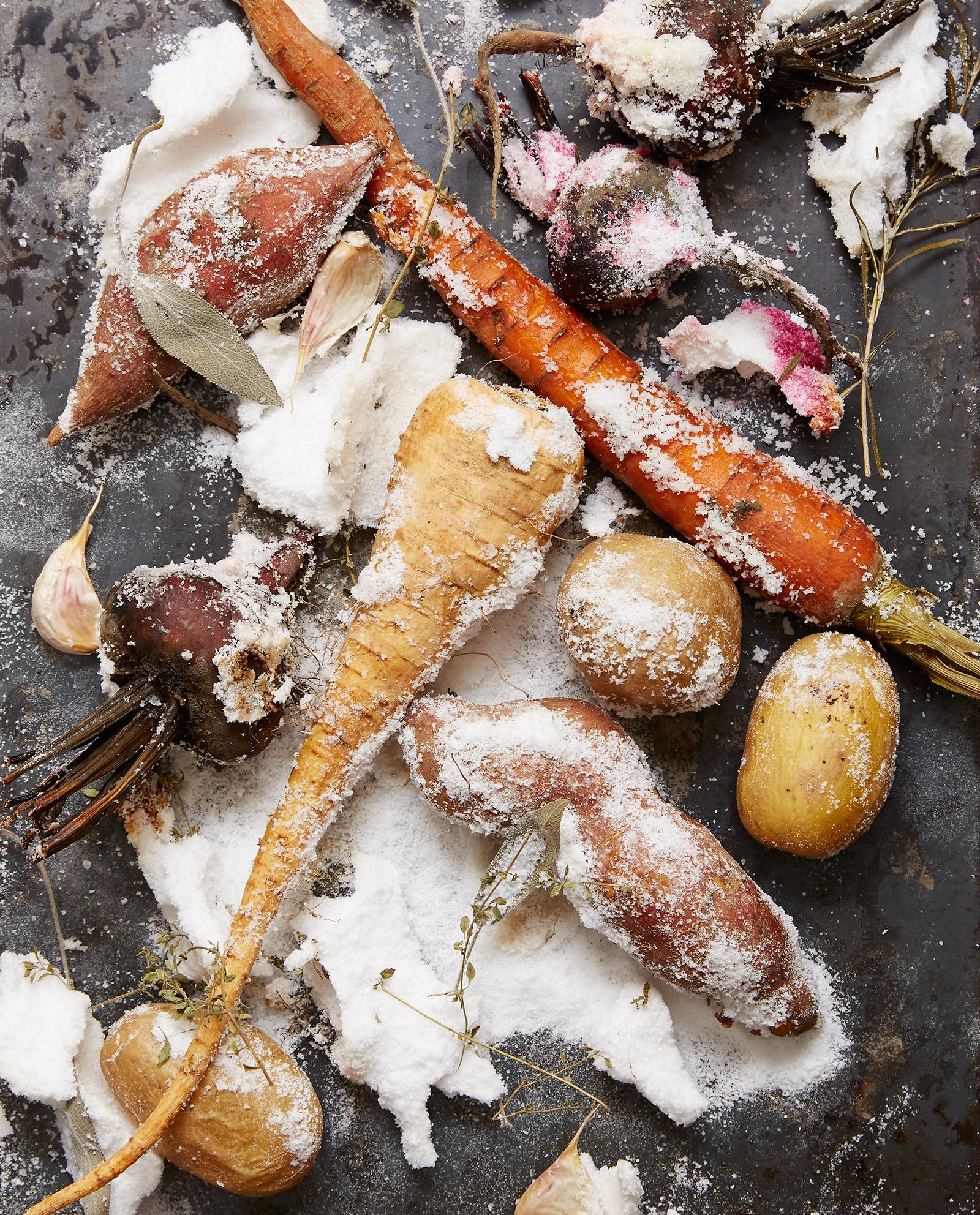 salt roasted beets potatoes carrots parsley root on sheet tray