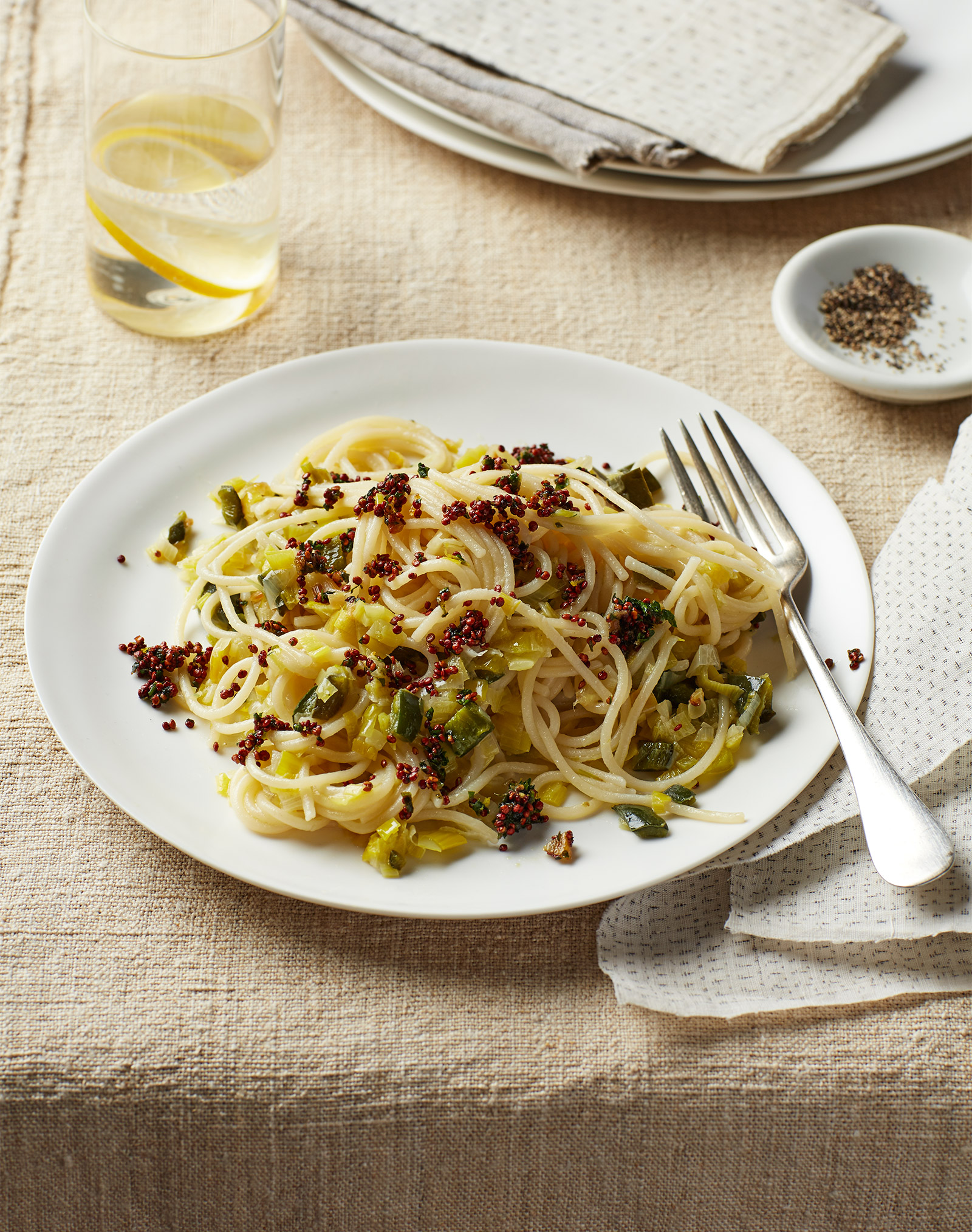 gluten free pasta with leeks and quinoa lemon gremolata