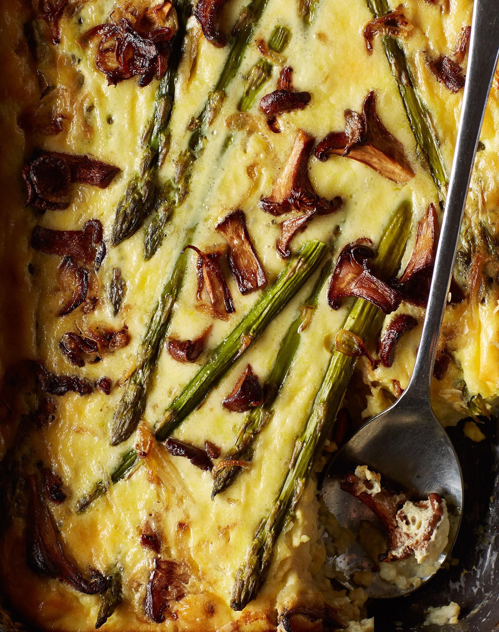 gluten free and vegetarian millet, asparagus, chanterelle mushroom, egg, cheese bake for brunch