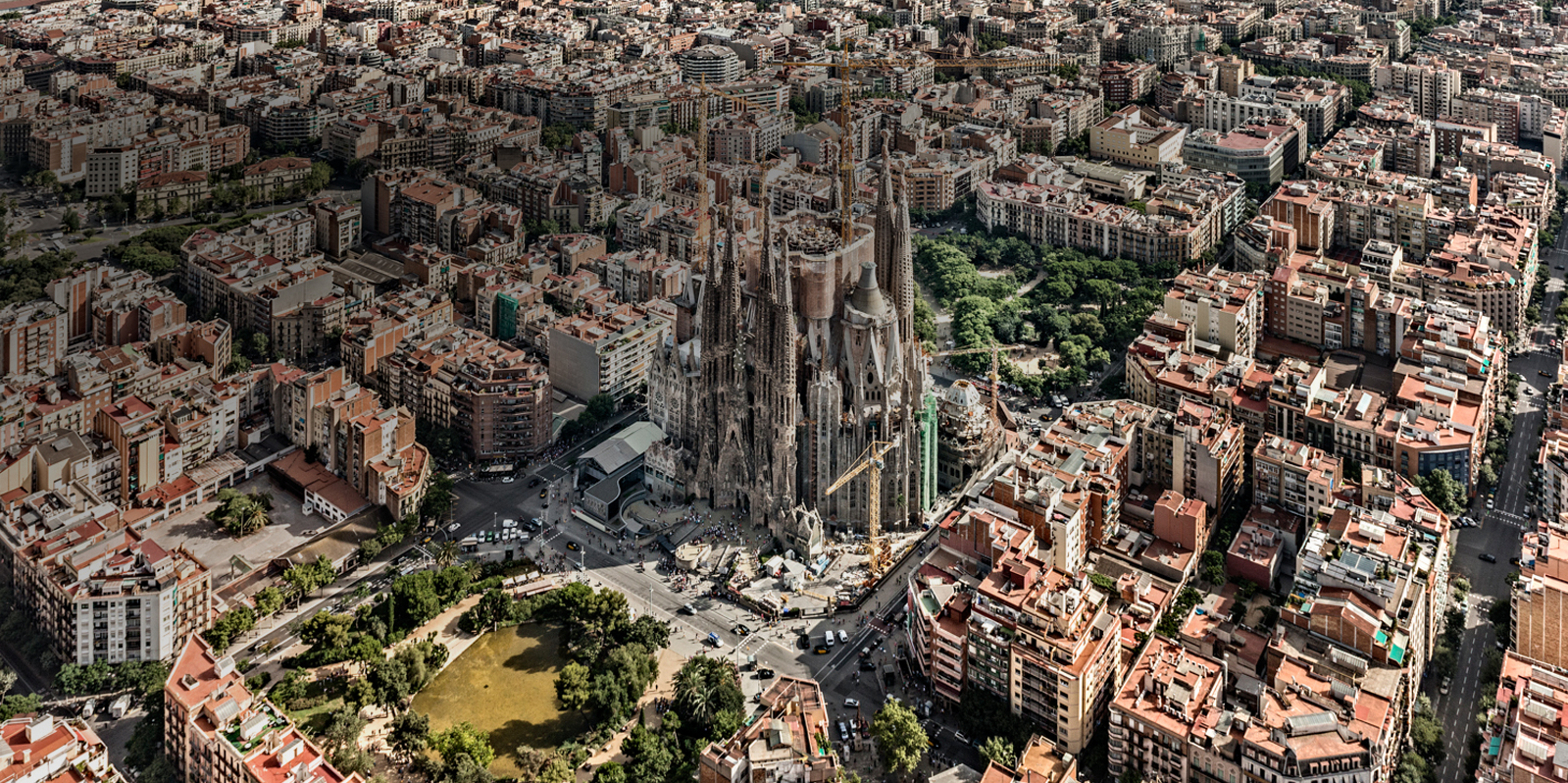Aerial view of the Sagrada Familia