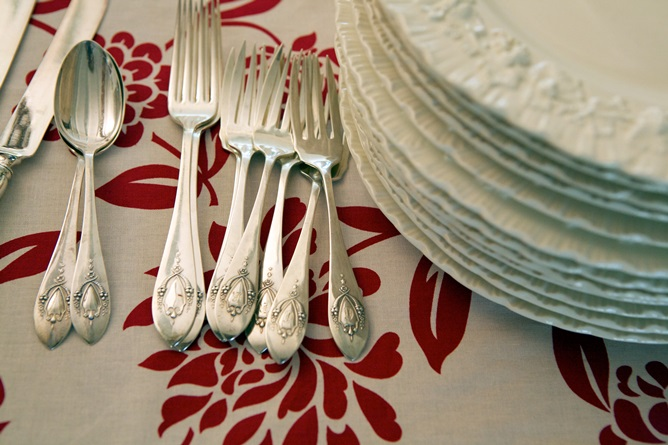 Red flower table linens cotton