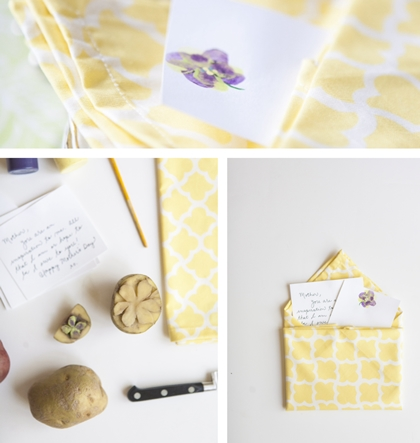 mother's day yellow and white cotton dinner napkins
