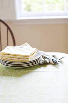 yellow and white table setting