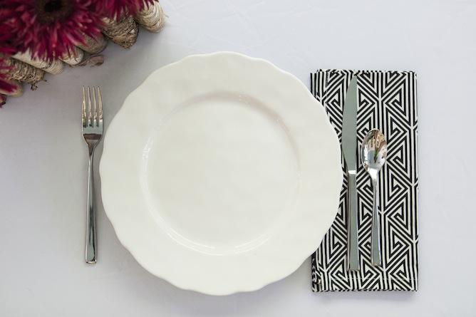 dinner napkin black and white patterened