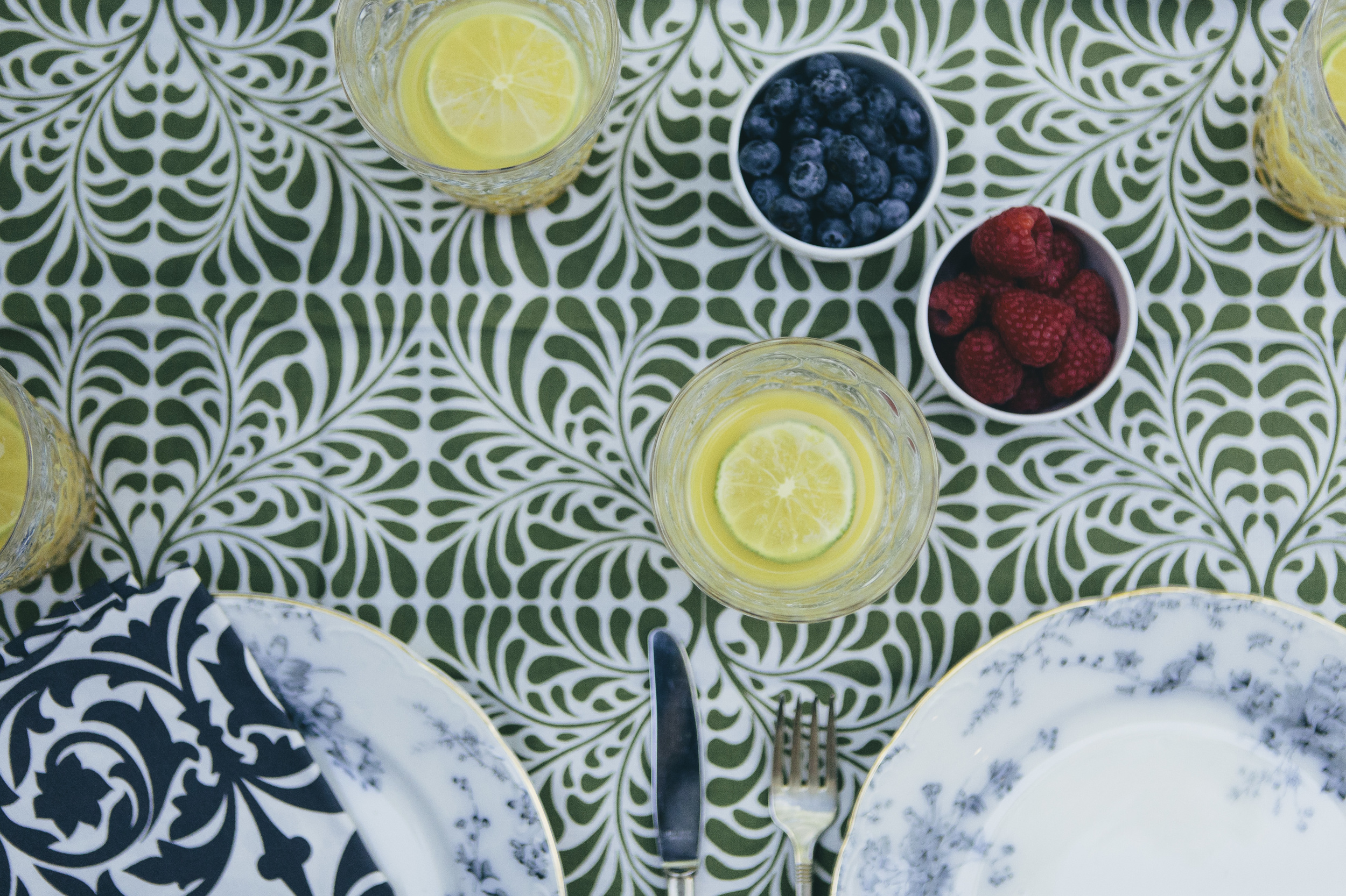 green and white cotton tablecloth for the breakfast table