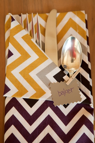 colorful cotton dinner napkins and place cards