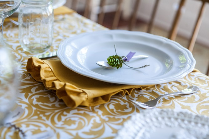 gold and white cotton table linens