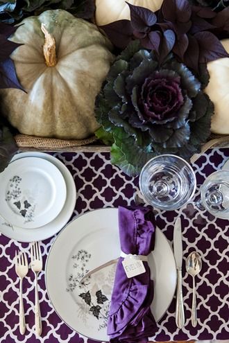 purple and white cotton table linens
