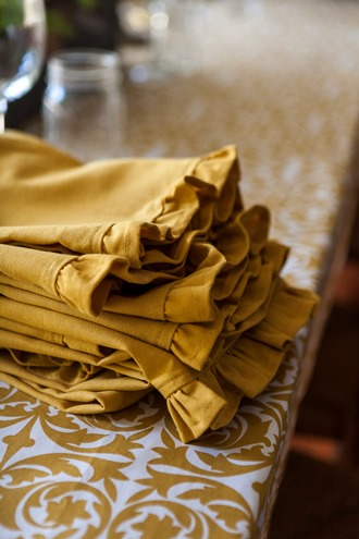gold and white table linens
