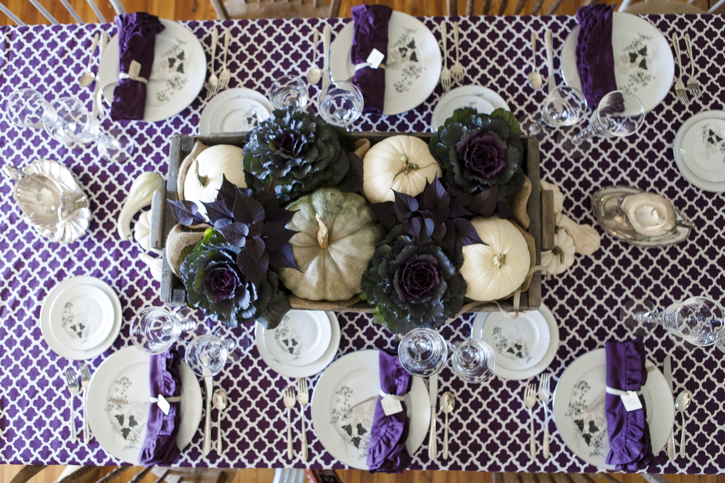 Purple cotton tablecloth