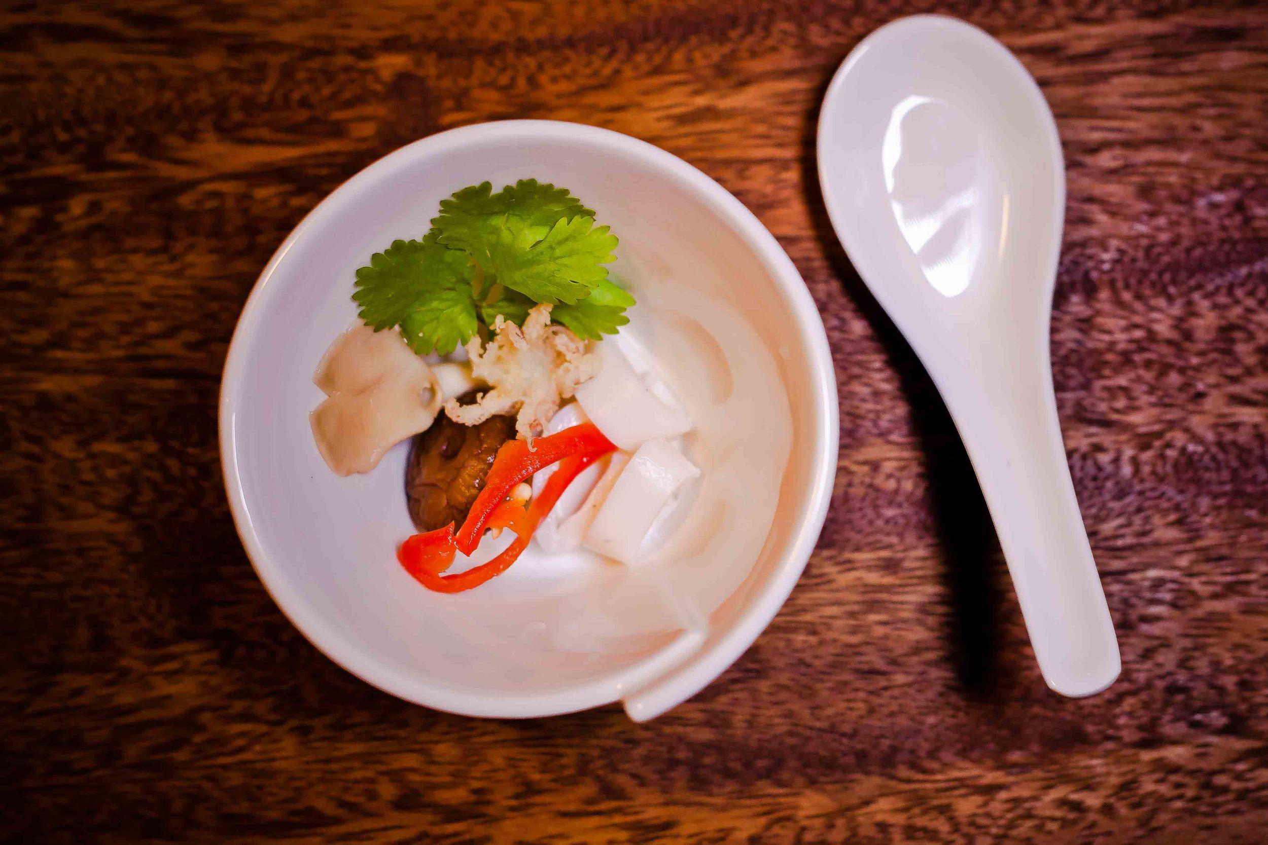 The Thai Experience Tom Kha Gai soup before