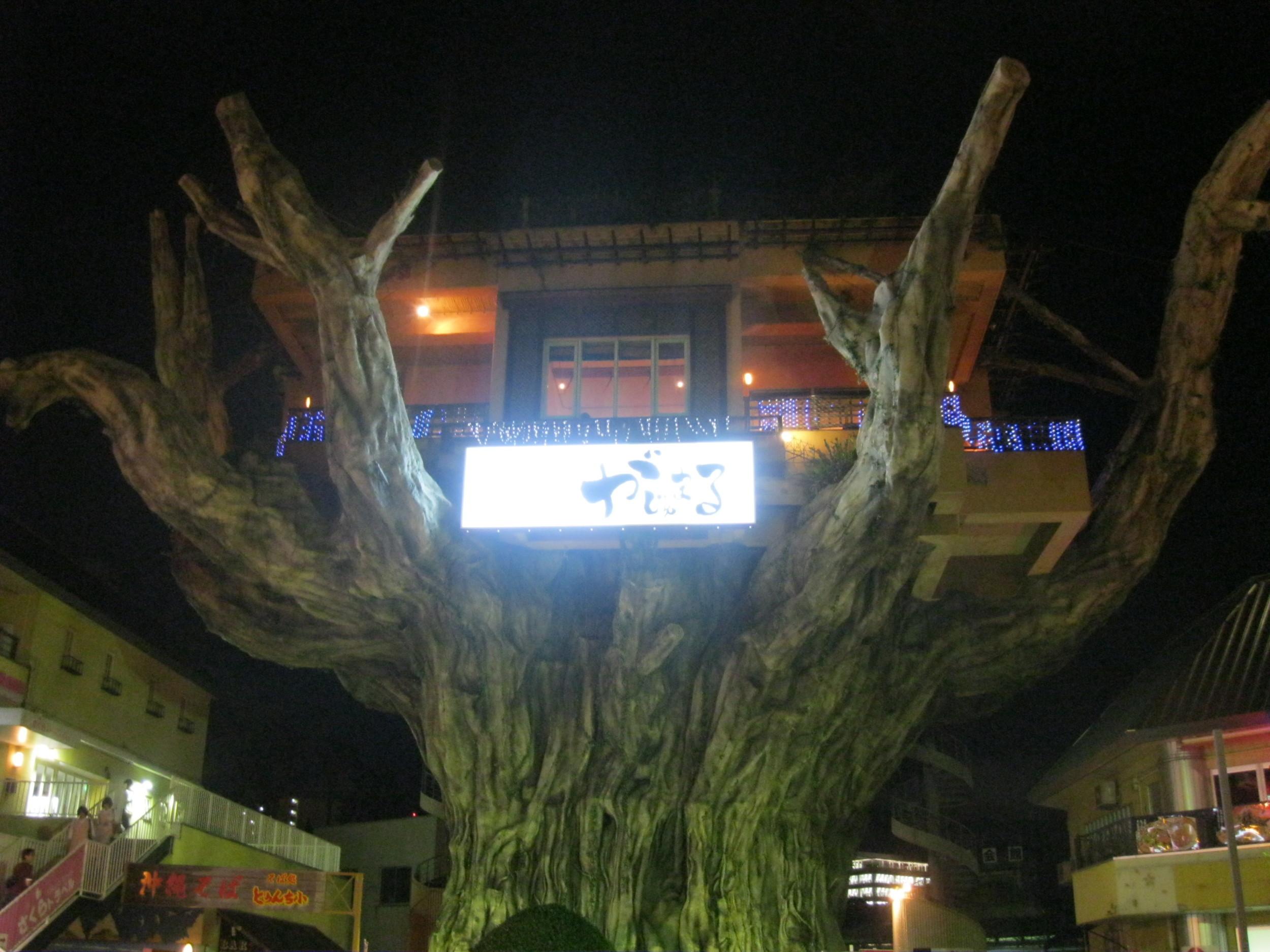 """Ubicado artificialmente sobre un gran """"árbol"""", es uno de los restaurantes más caros de Okinawa. Pidan un helado y un café."""