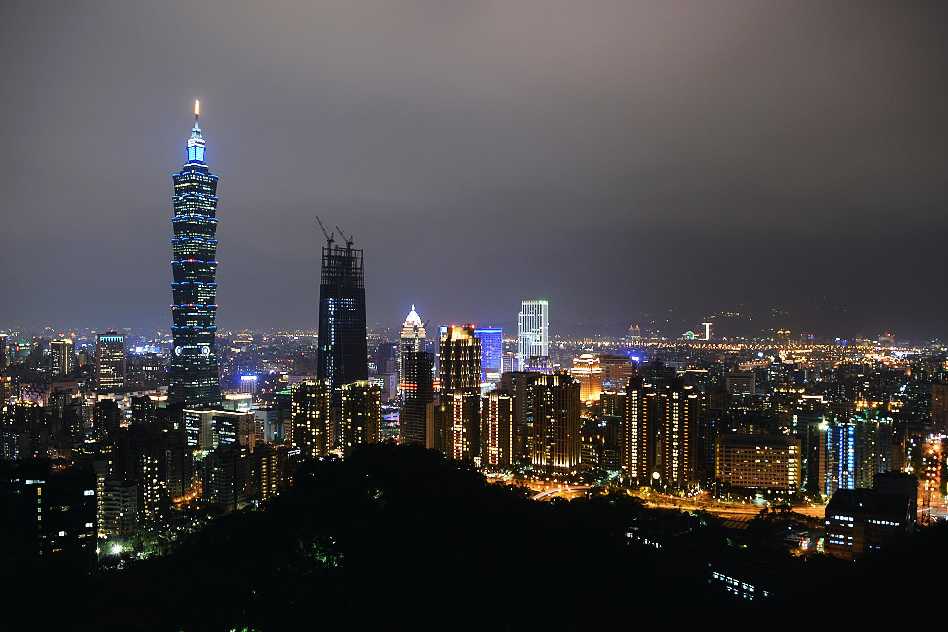 Vistas nocturnas de Taipei desde el Elephant Mountain.
