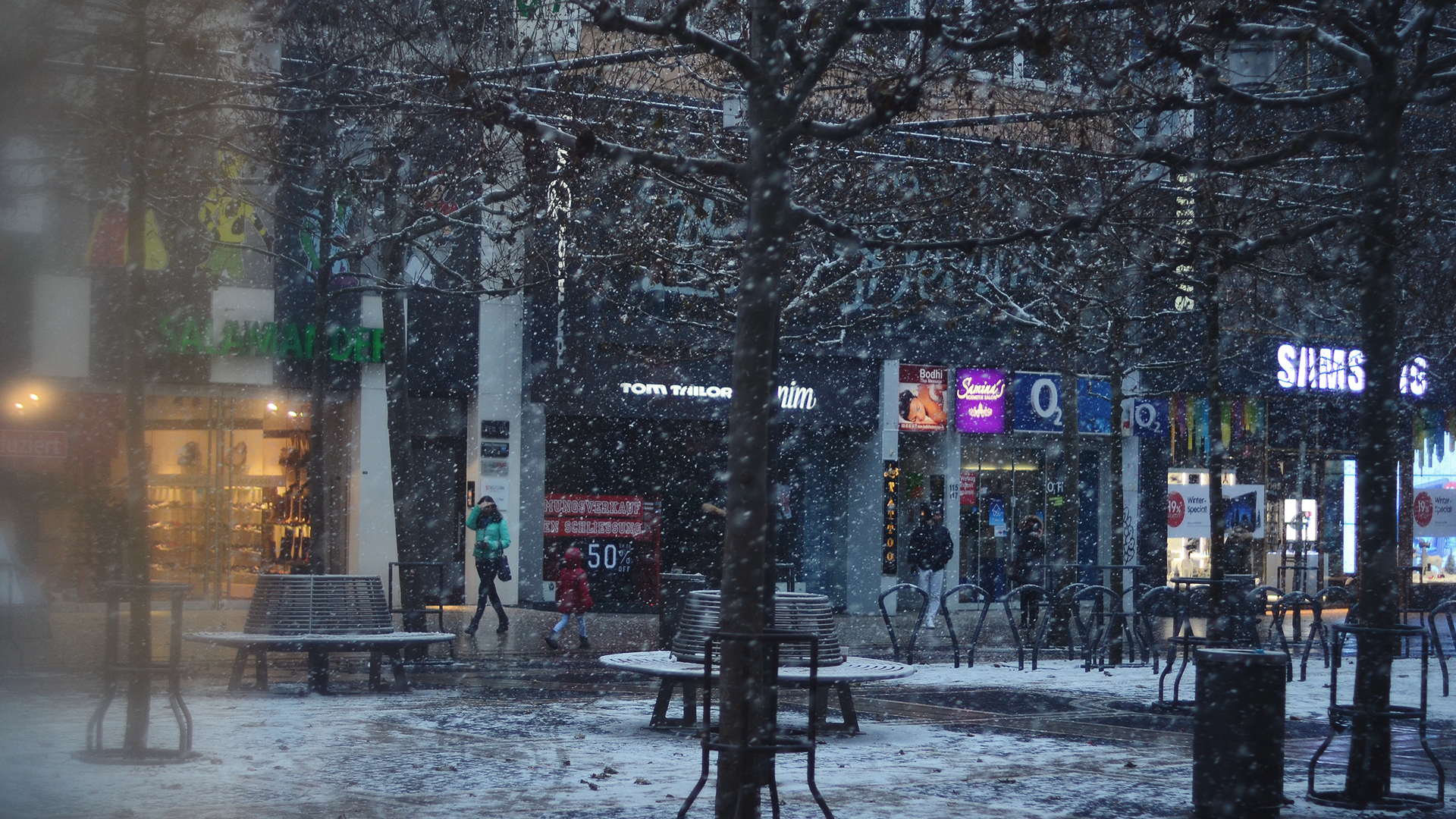 No suele nevar en Frankfurt, pero bueno.
