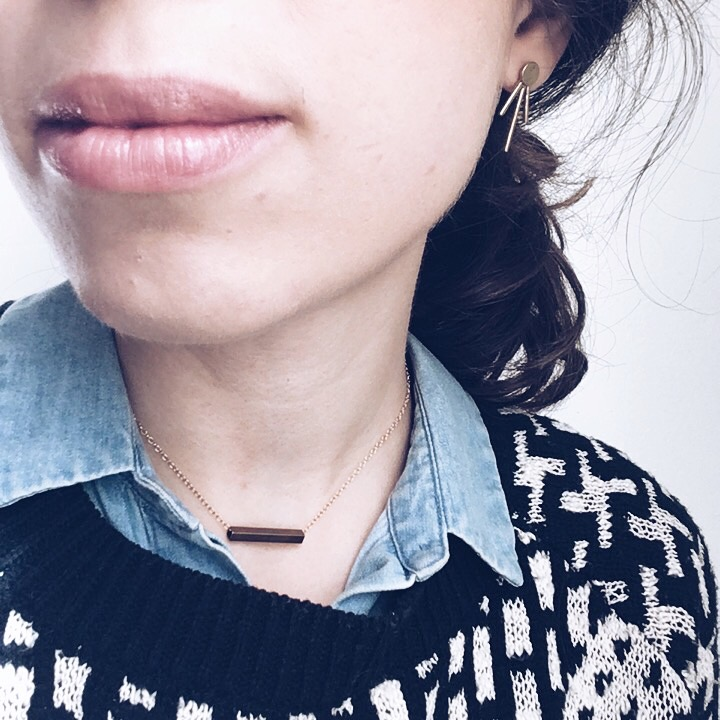 Melt Goods Earrings, Everlane denim shirt, thrifted funky sweater and honorable mention  Linea Jewelry  necklace!